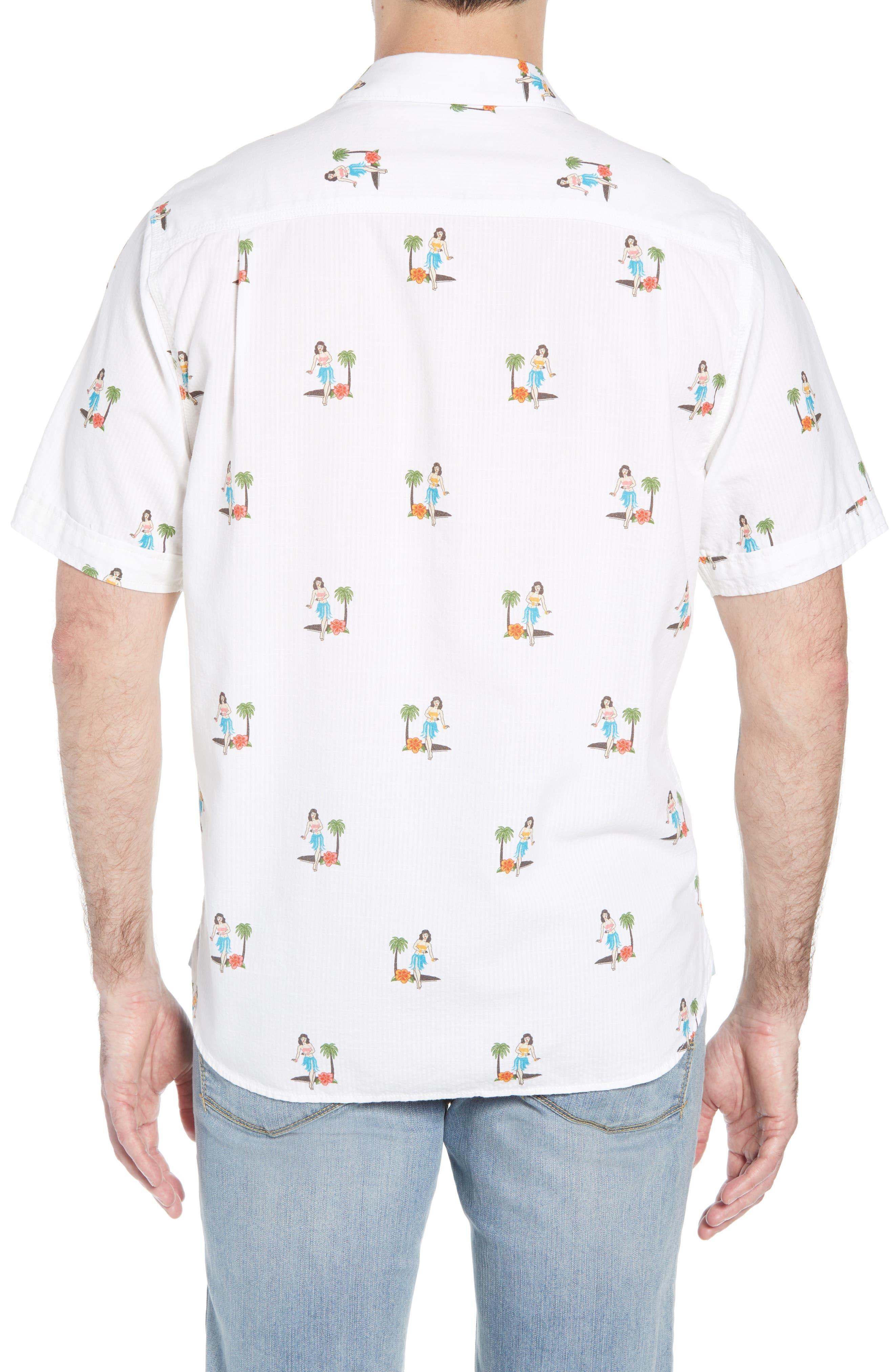 Hula Oasis Regular Fit Sport Shirt,                             Alternate thumbnail 3, color,                             100