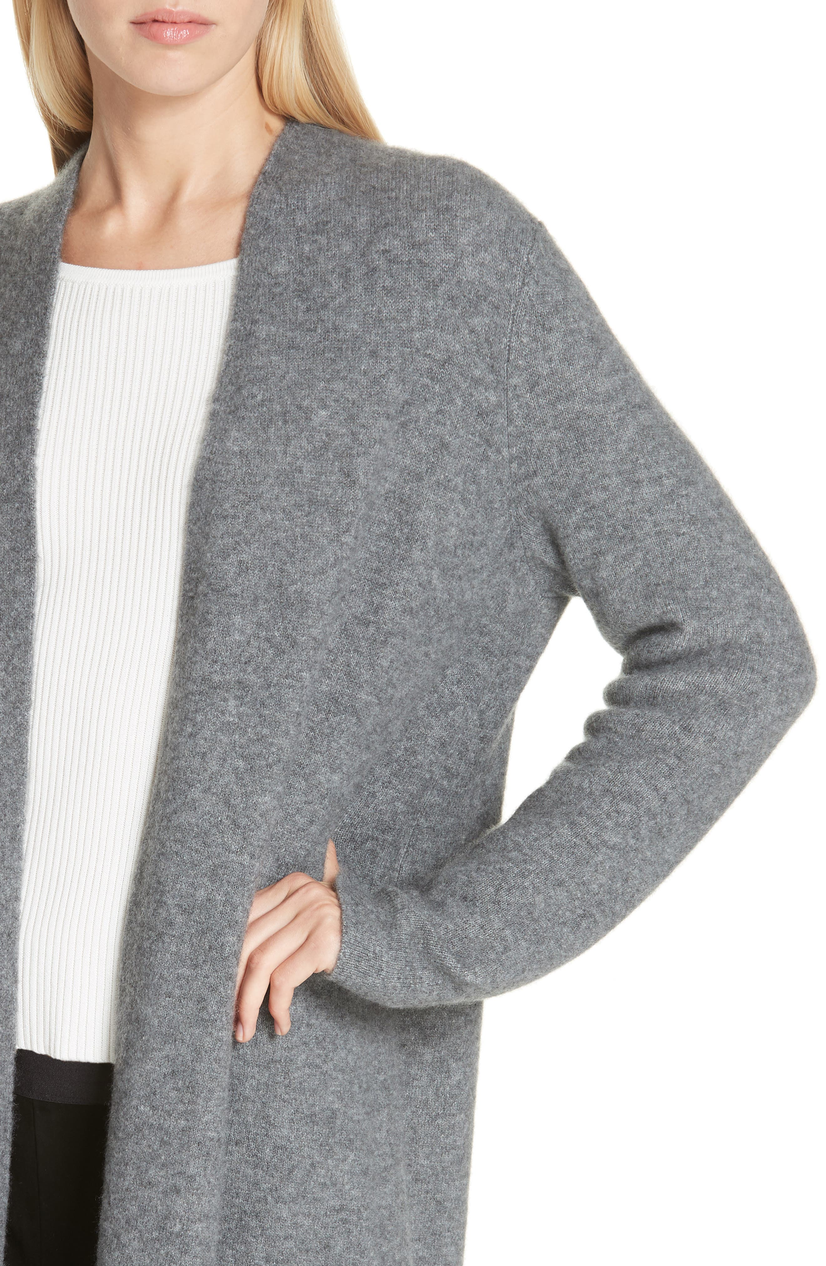 Cashmere & Silk Blend Open Cardigan,                             Alternate thumbnail 4, color,                             ASH