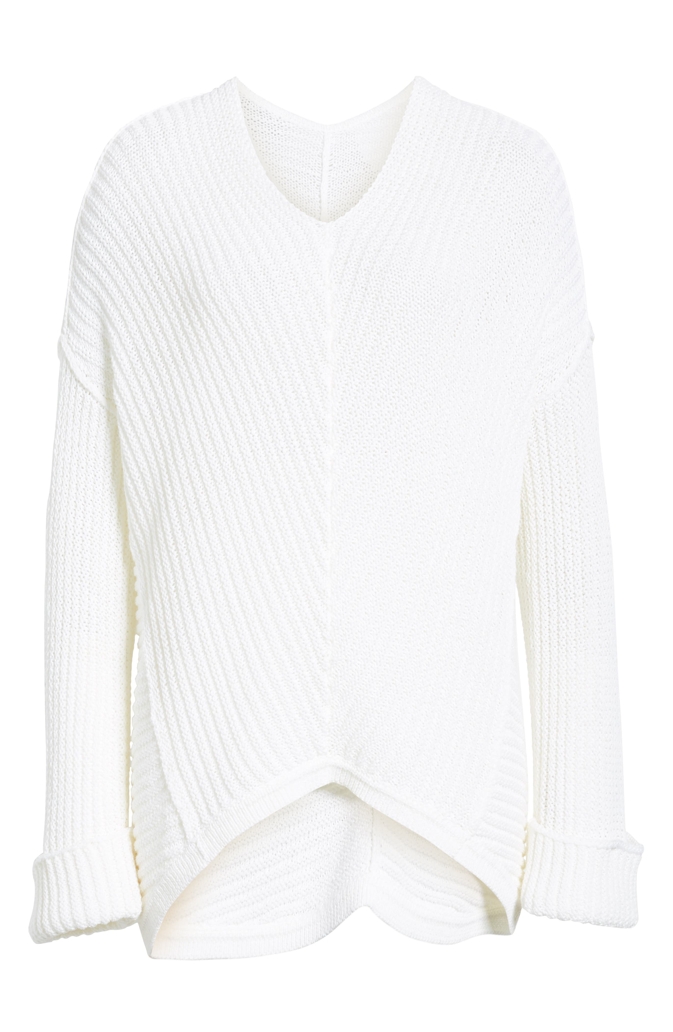 Cuffed Sleeve Sweater,                             Alternate thumbnail 6, color,                             100
