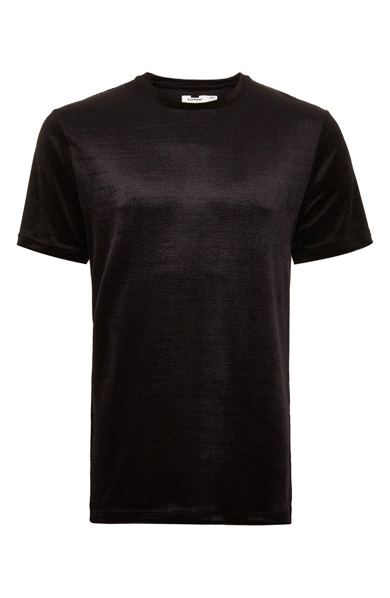 Topshop Velour Classic Fit T-Shirt,                             Alternate thumbnail 3, color,                             BLACK