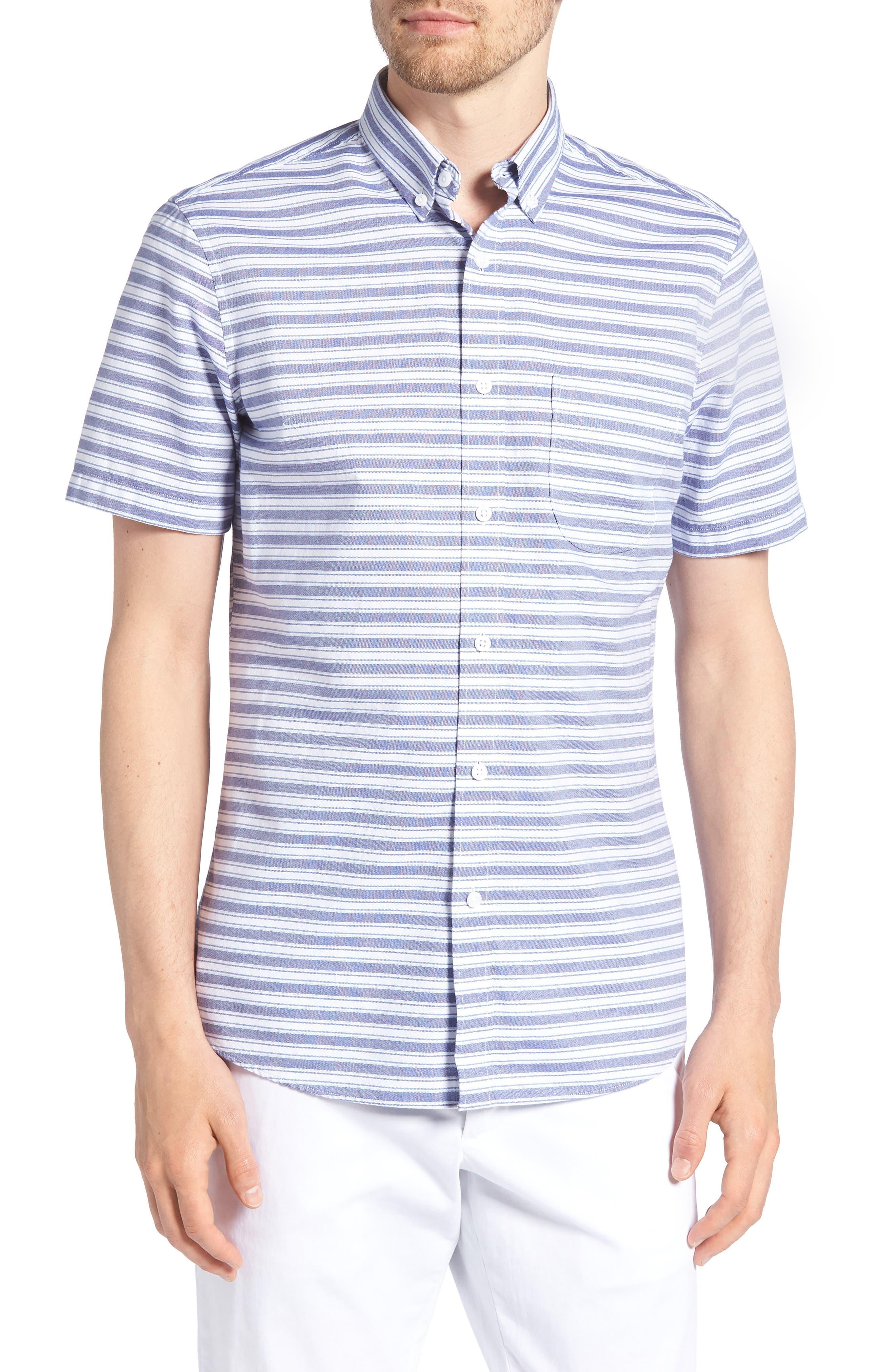 Trim Fit Stripe Round Pocket Sport Shirt,                         Main,                         color, 420