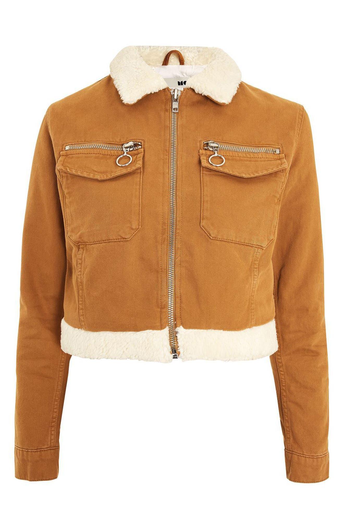 Borg Trim Crop Denim Jacket,                             Alternate thumbnail 4, color,                             210