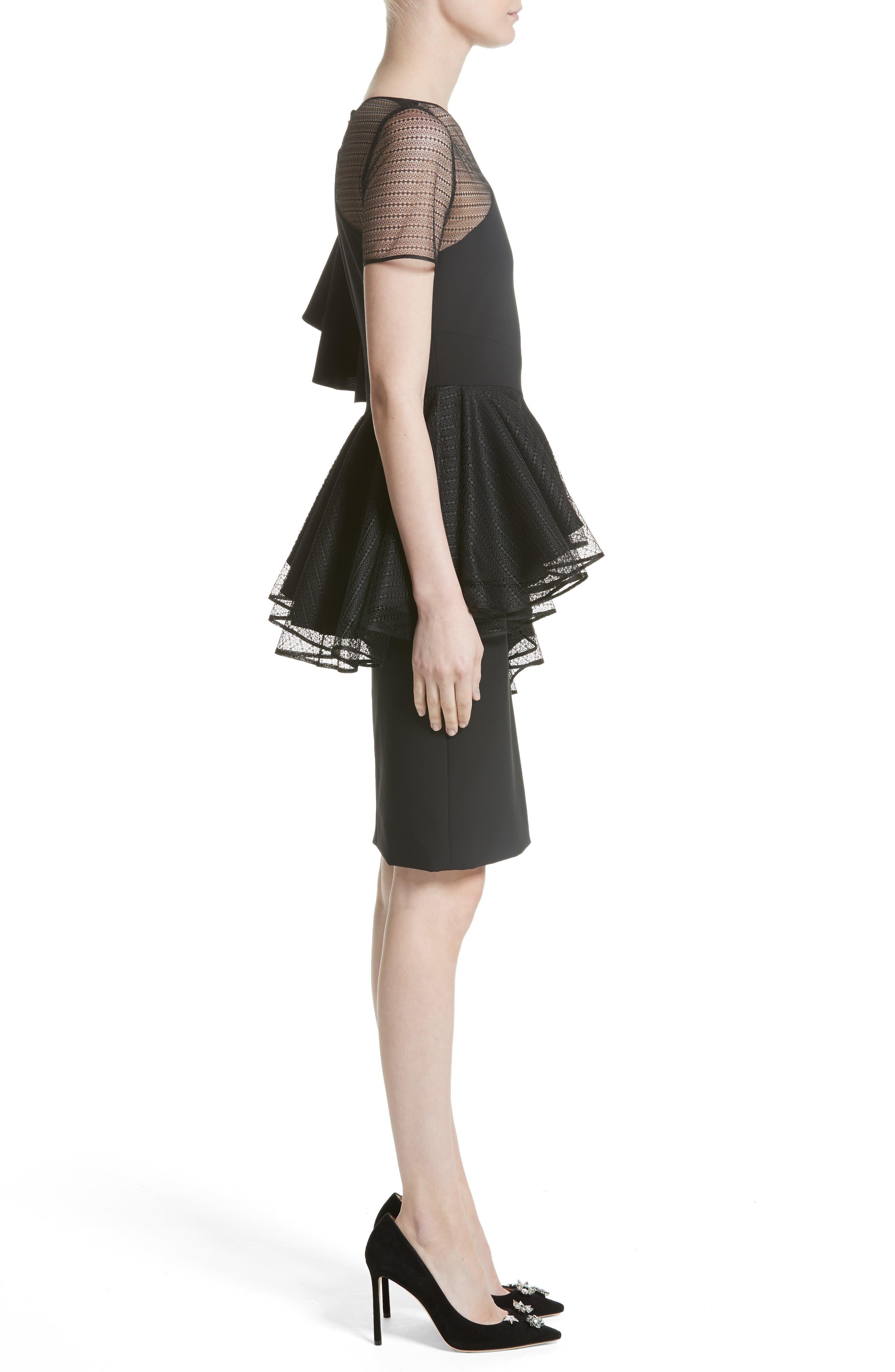 Ruffle Peplum Lace & Jersey Sheath Dress,                             Alternate thumbnail 3, color,                             001