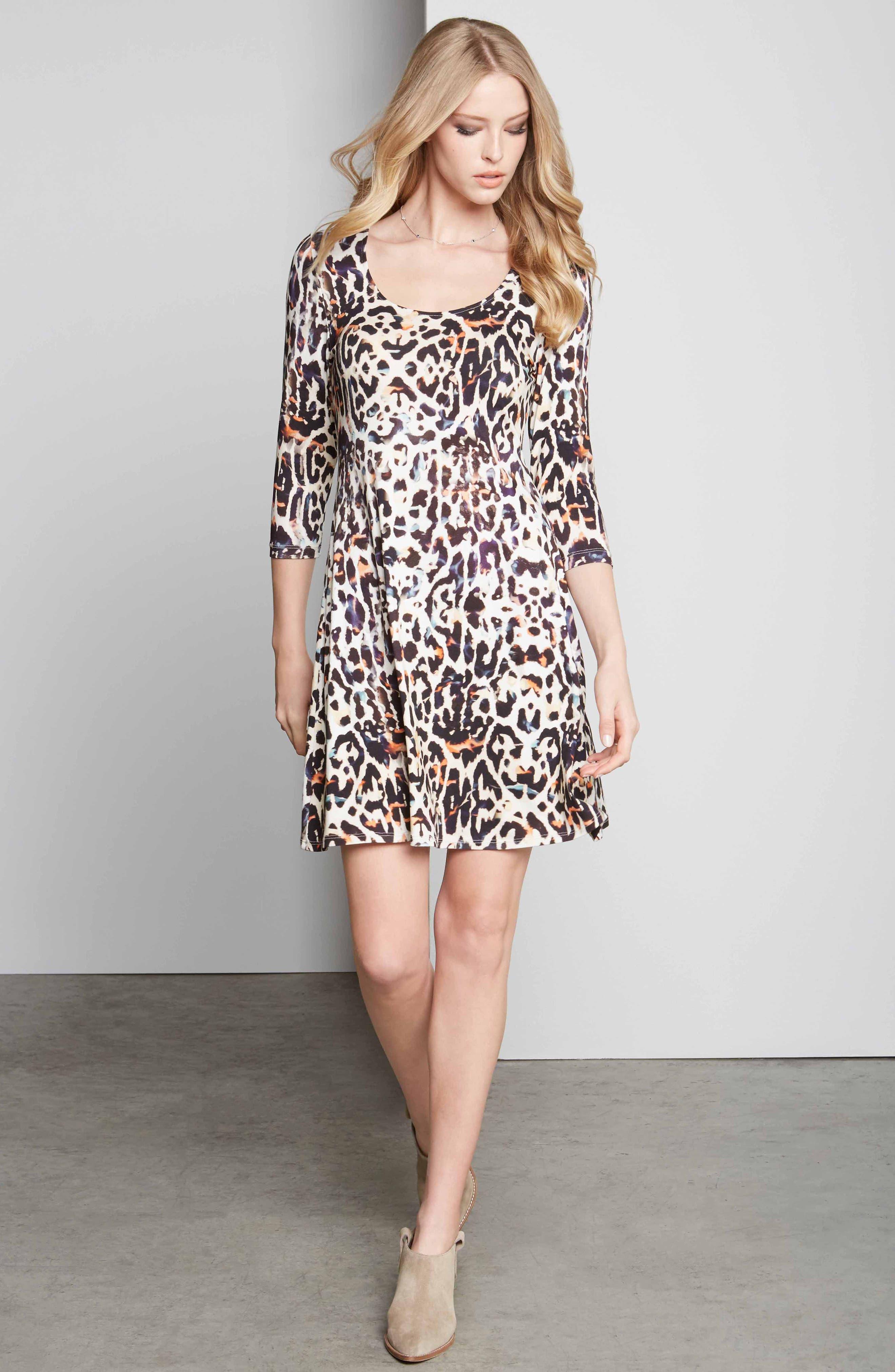 Leopard Print A-Line Dress,                             Alternate thumbnail 5, color,                             280