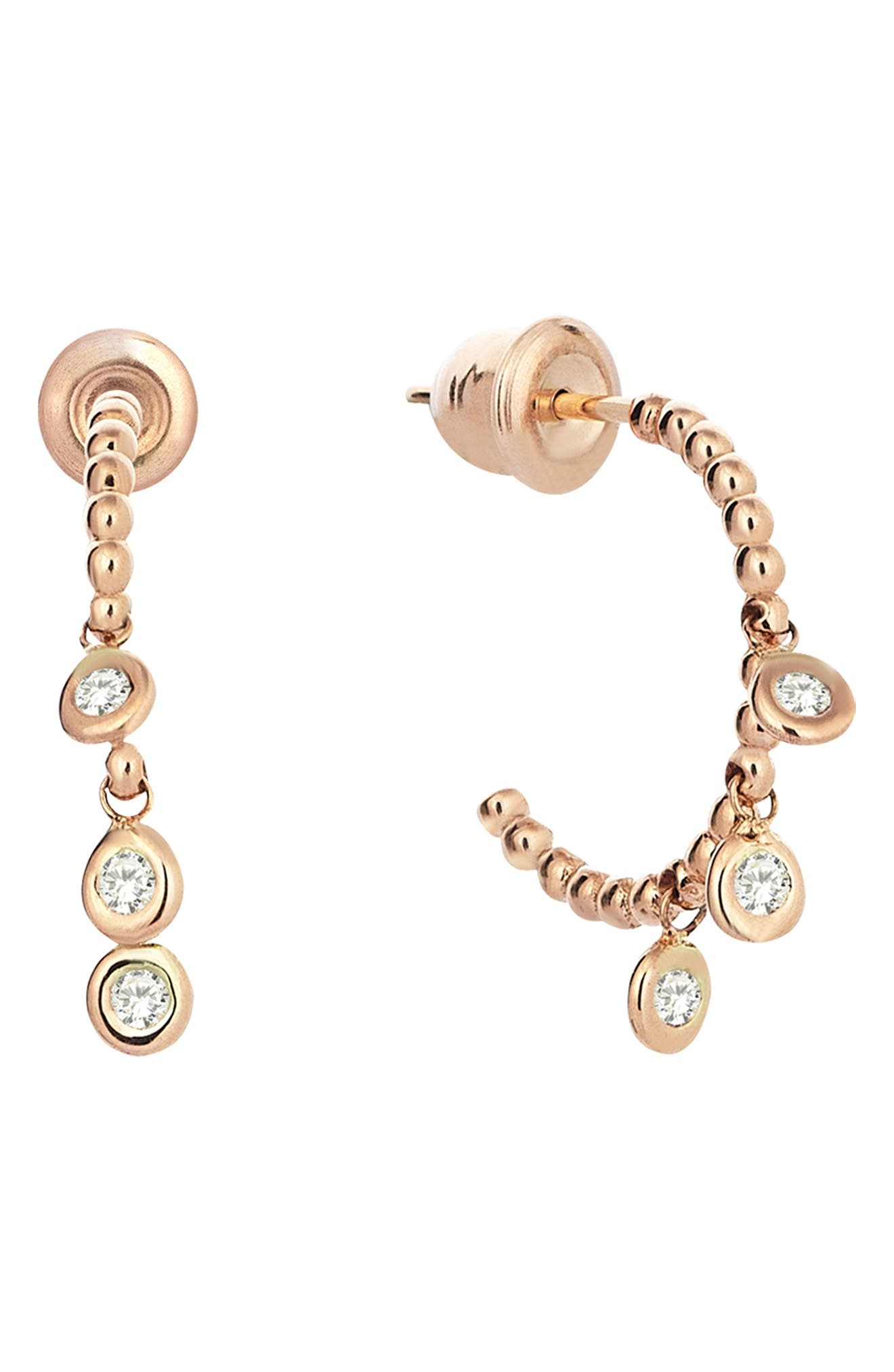 Diamond Hoop Earring,                         Main,                         color, ROSE GOLD