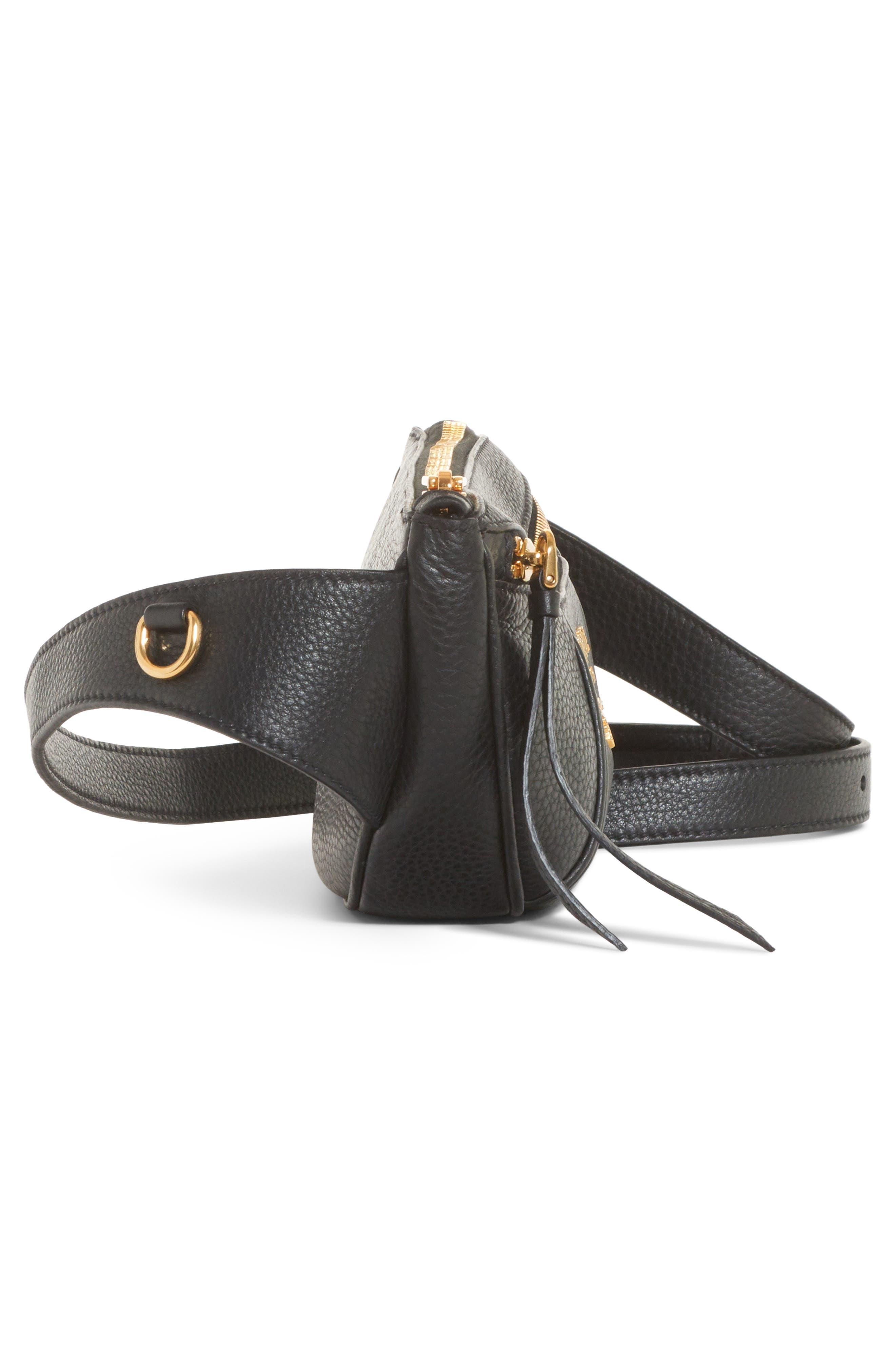 Daino Leather Belt Bag,                             Alternate thumbnail 4, color,                             001