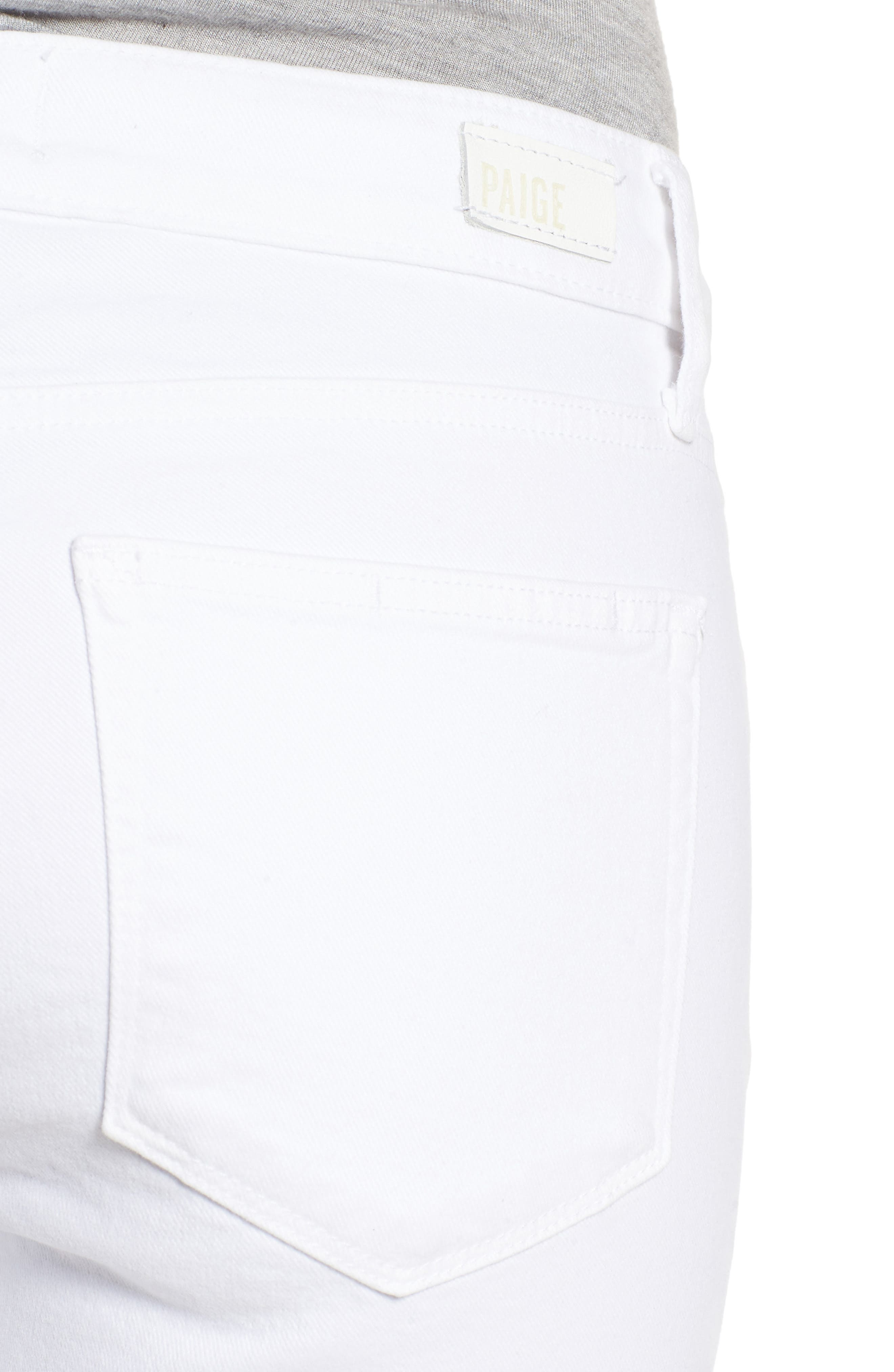 Verdugo Slanted Crop Skinny Jeans,                             Alternate thumbnail 4, color,                             CRISP WHITE