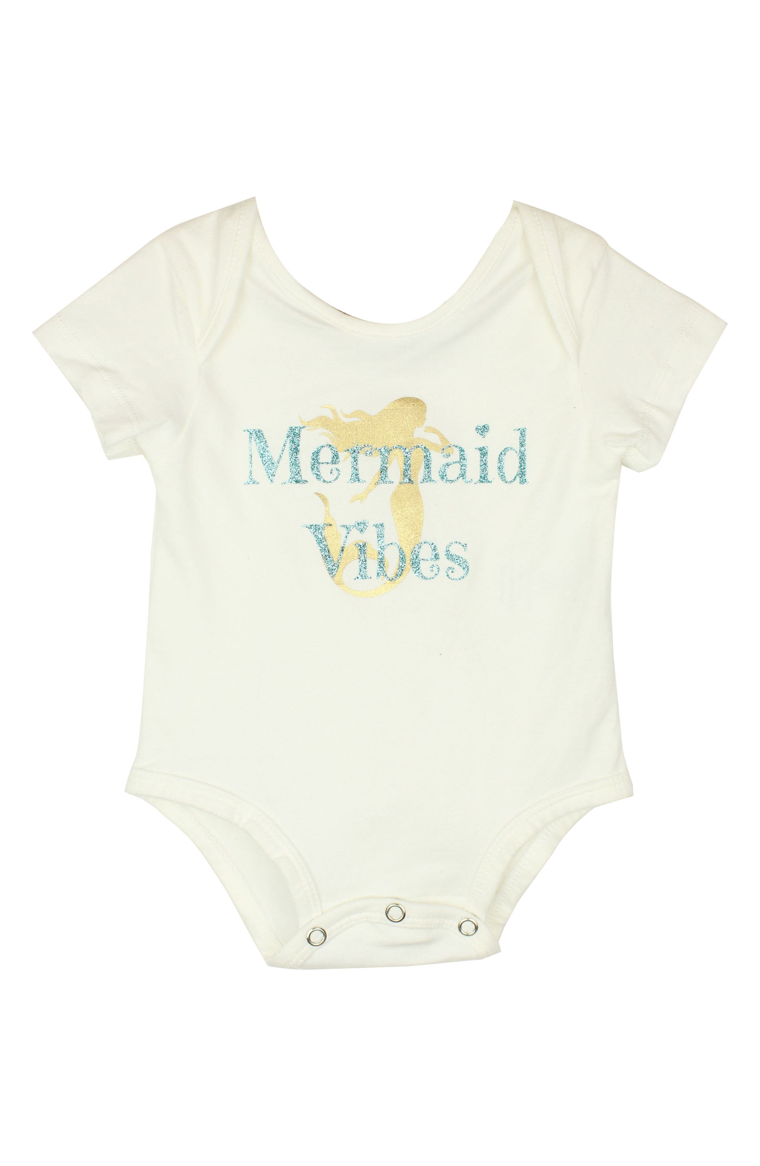 POPATU Mermaid Vibes Bodysuit, Main, color, WHITE