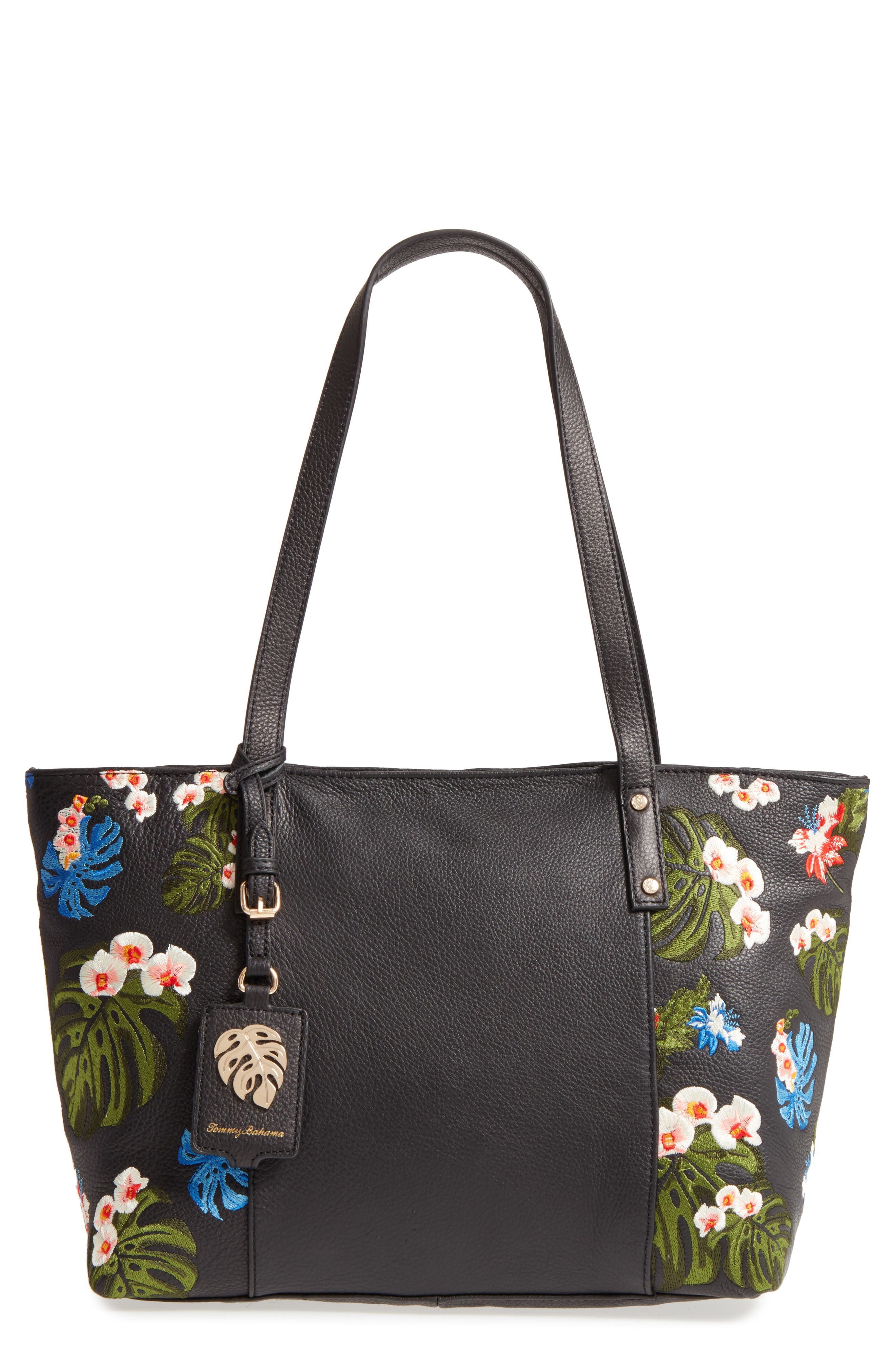 Cozumel Floral Embroidered Leather Tote,                             Main thumbnail 1, color,                             001
