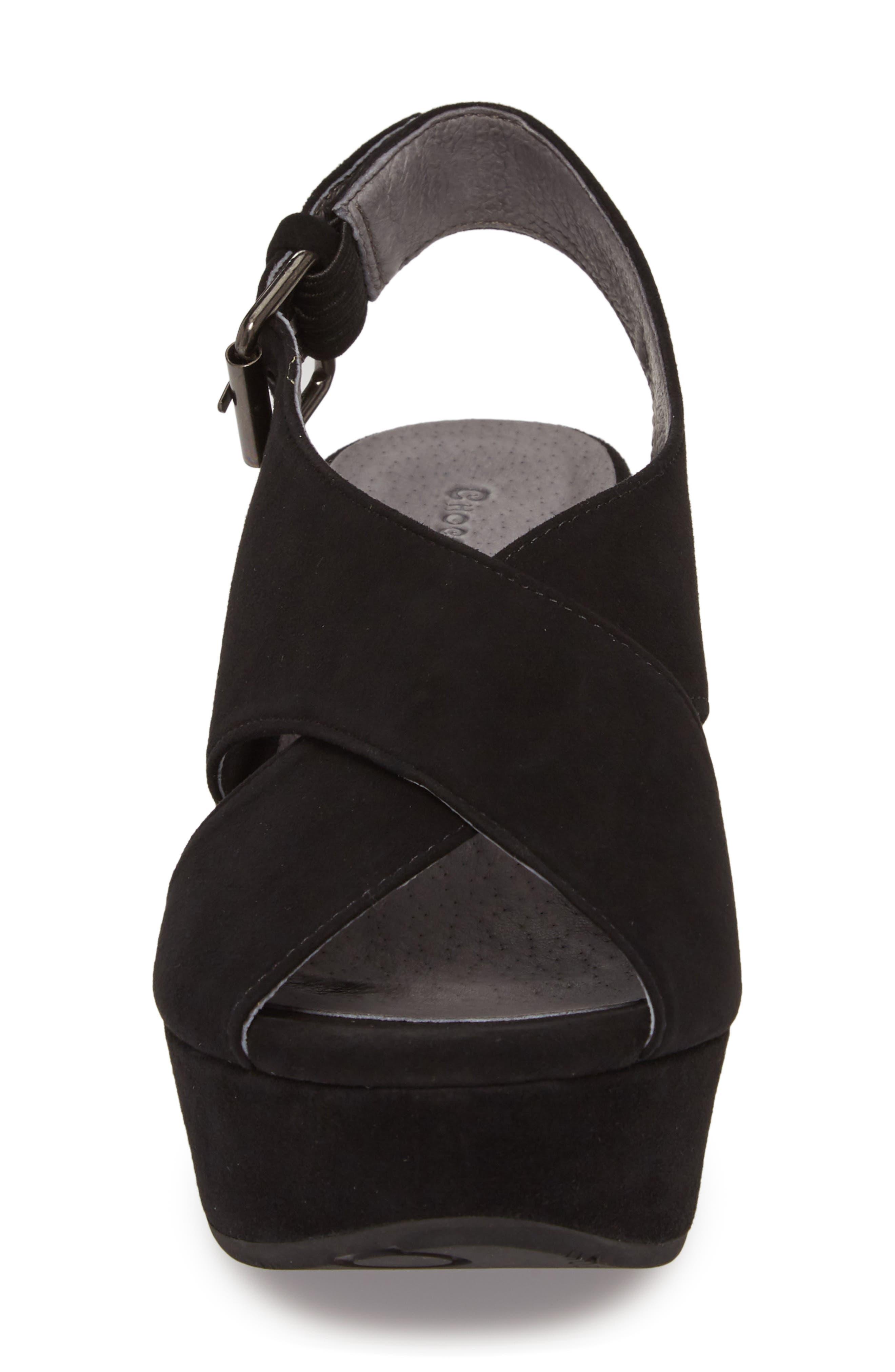 Wim Platform Wedge Sandal,                             Alternate thumbnail 4, color,                             BLACK SUEDE