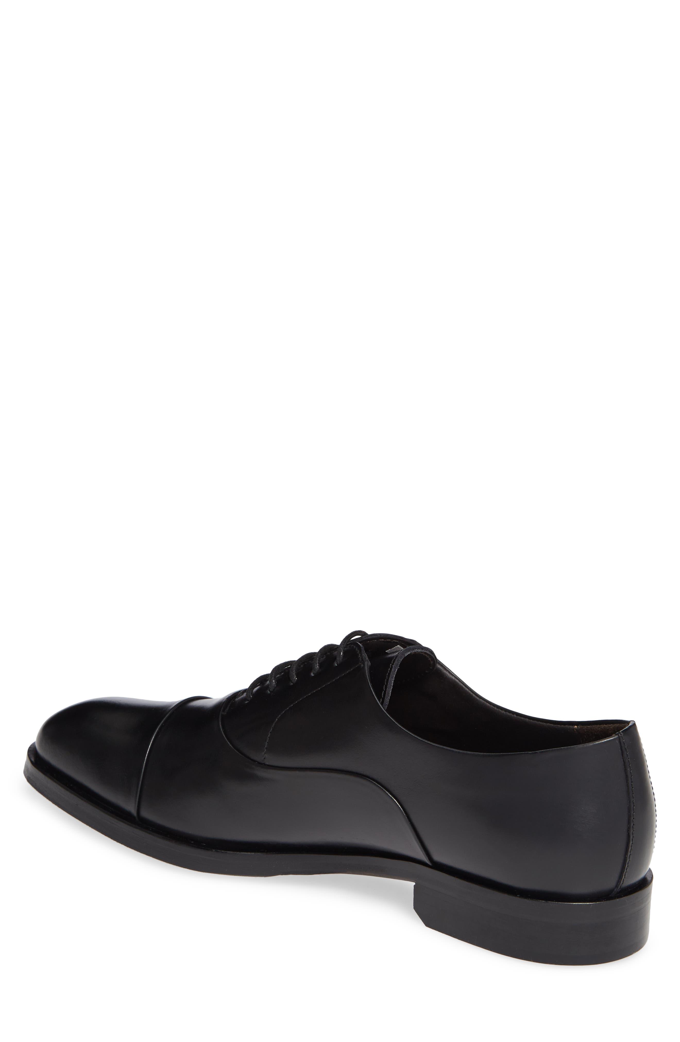 Hudson Cap Toe Oxford,                             Alternate thumbnail 2, color,                             BLACK LEATHER