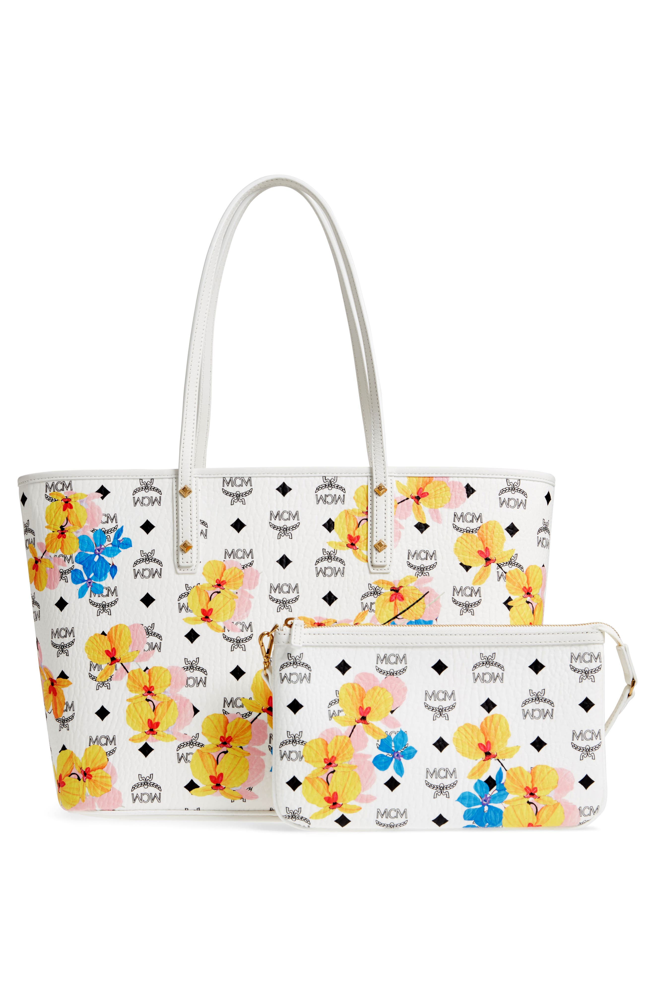 MCM,                             Essentials Floral Print Coated Canvas Shopper,                             Alternate thumbnail 3, color,                             100