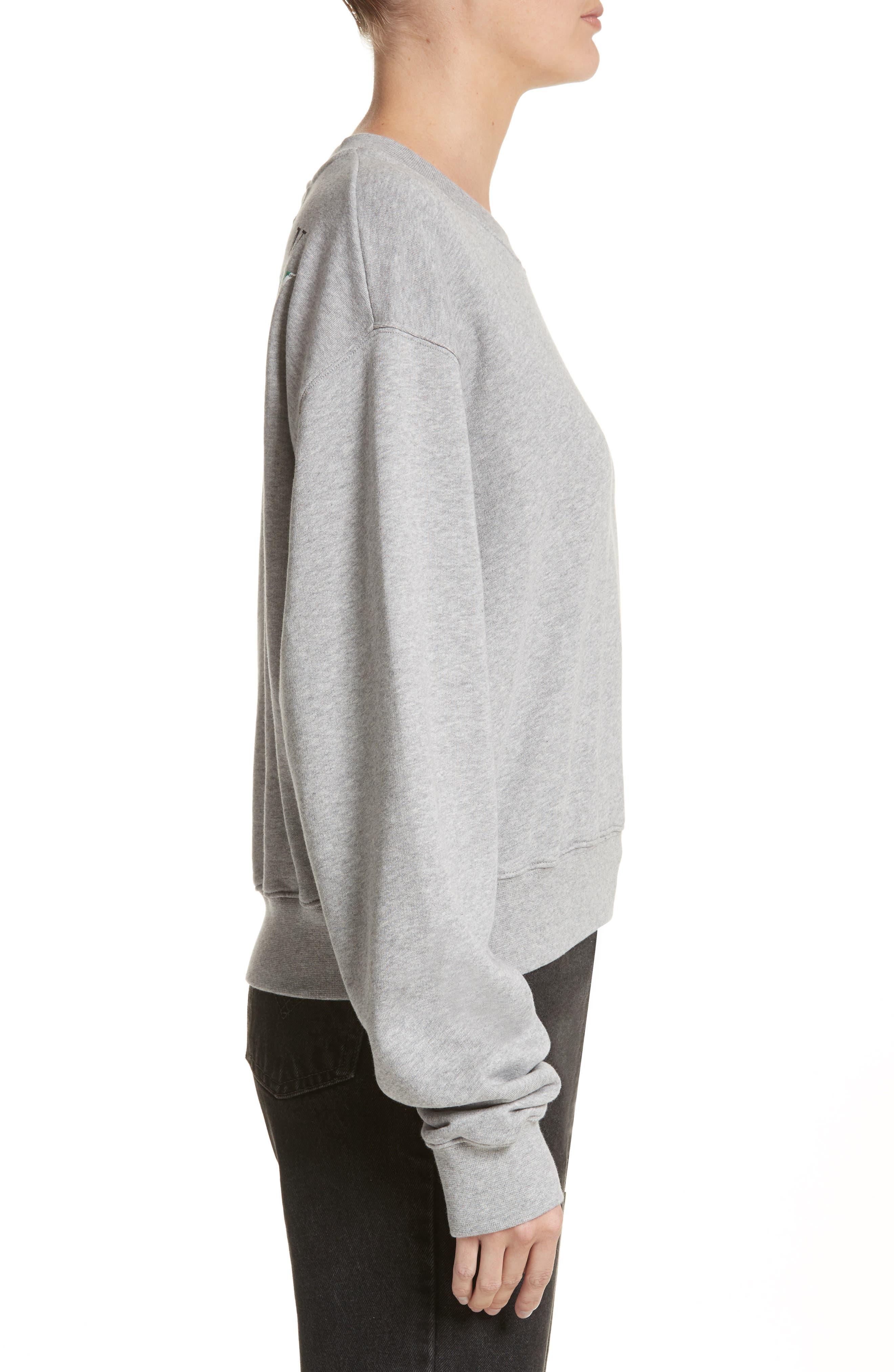 Woman Tape Crop Crewneck Sweater,                             Alternate thumbnail 3, color,                             020