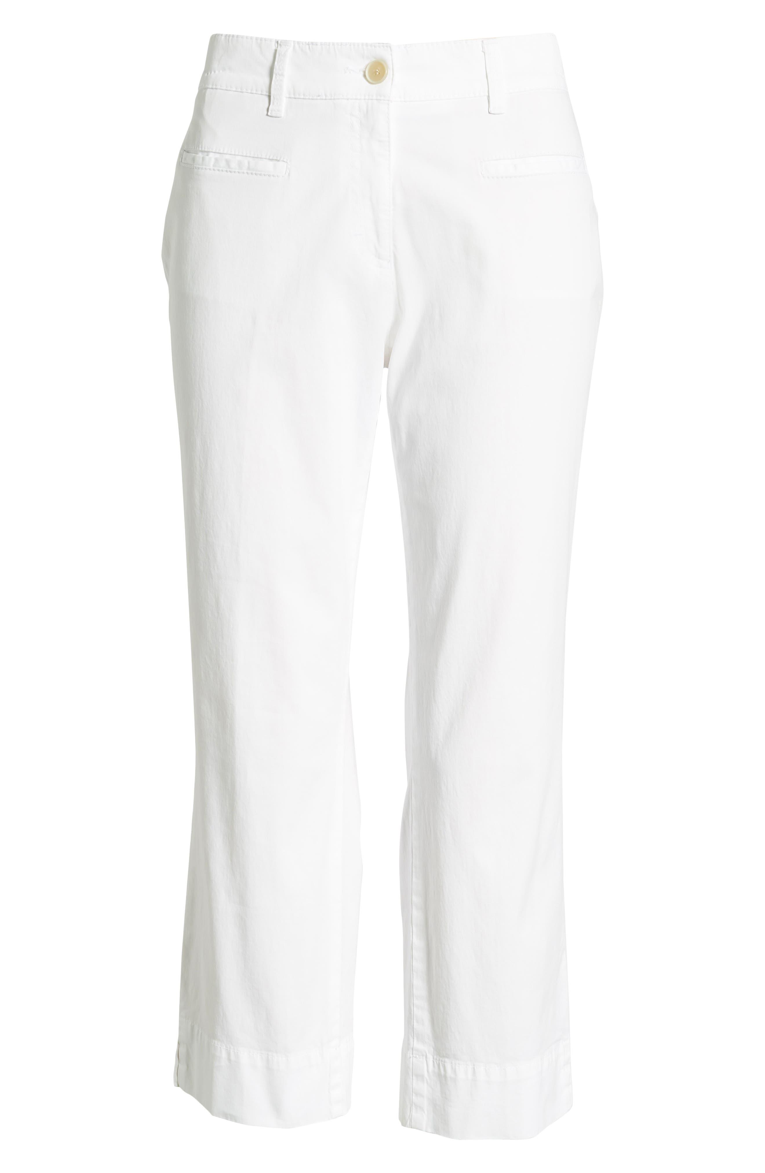 Sunny Stretch Cotton Slit Hem Pants,                             Alternate thumbnail 6, color,                             199
