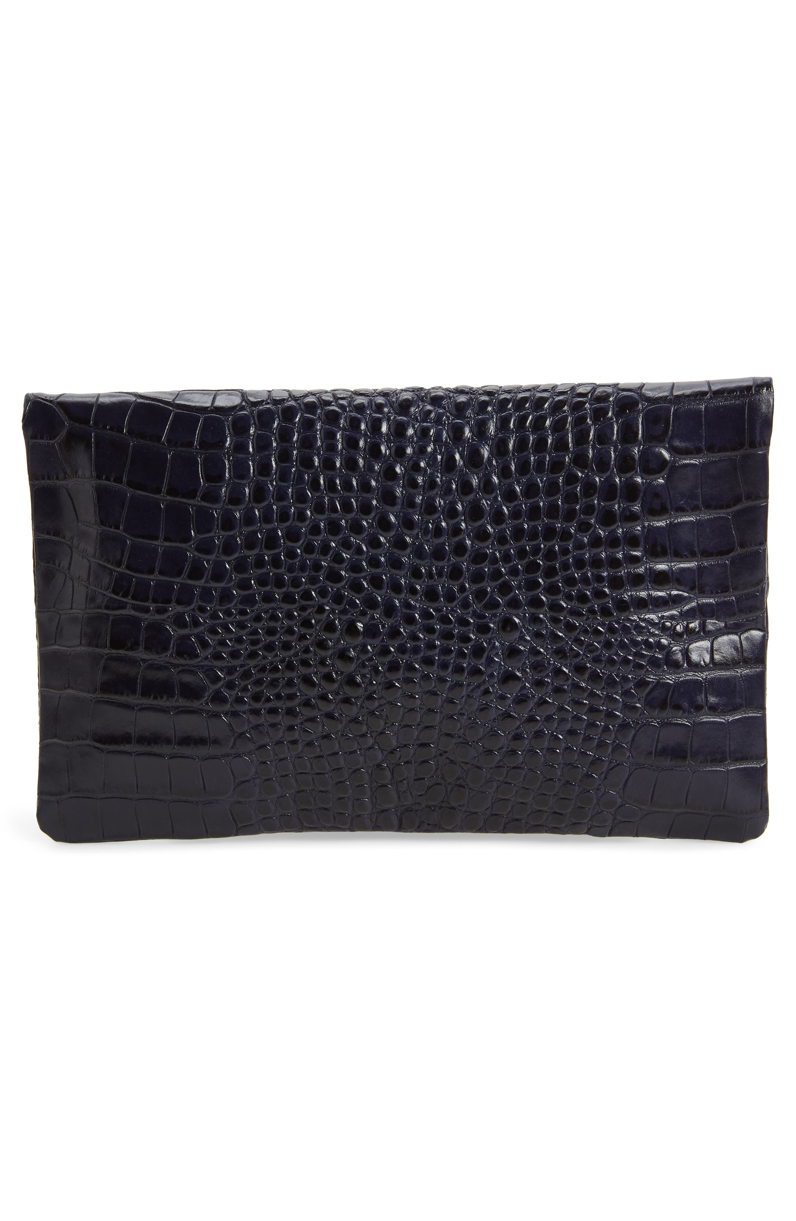 Croc Embossed Leather Foldover Clutch,                             Alternate thumbnail 3, color,                             MIDNIGHT CROCO