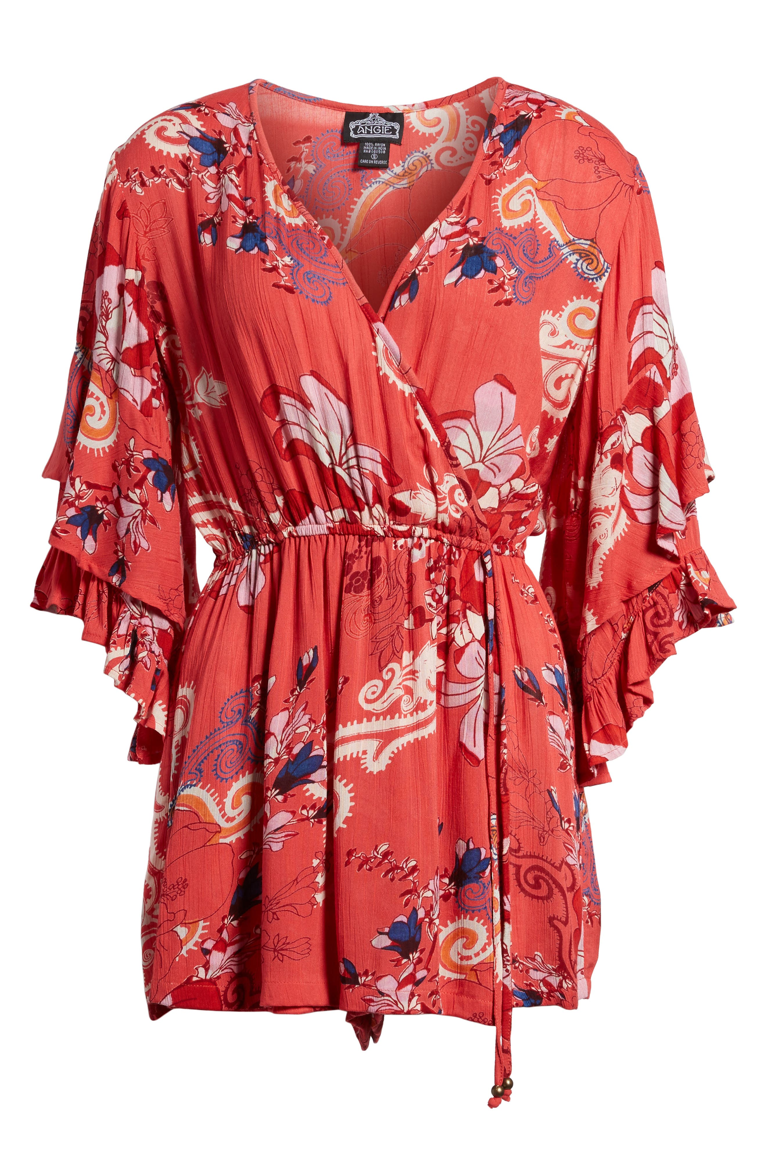 Print Ruffle Surplice Romper,                             Alternate thumbnail 12, color,
