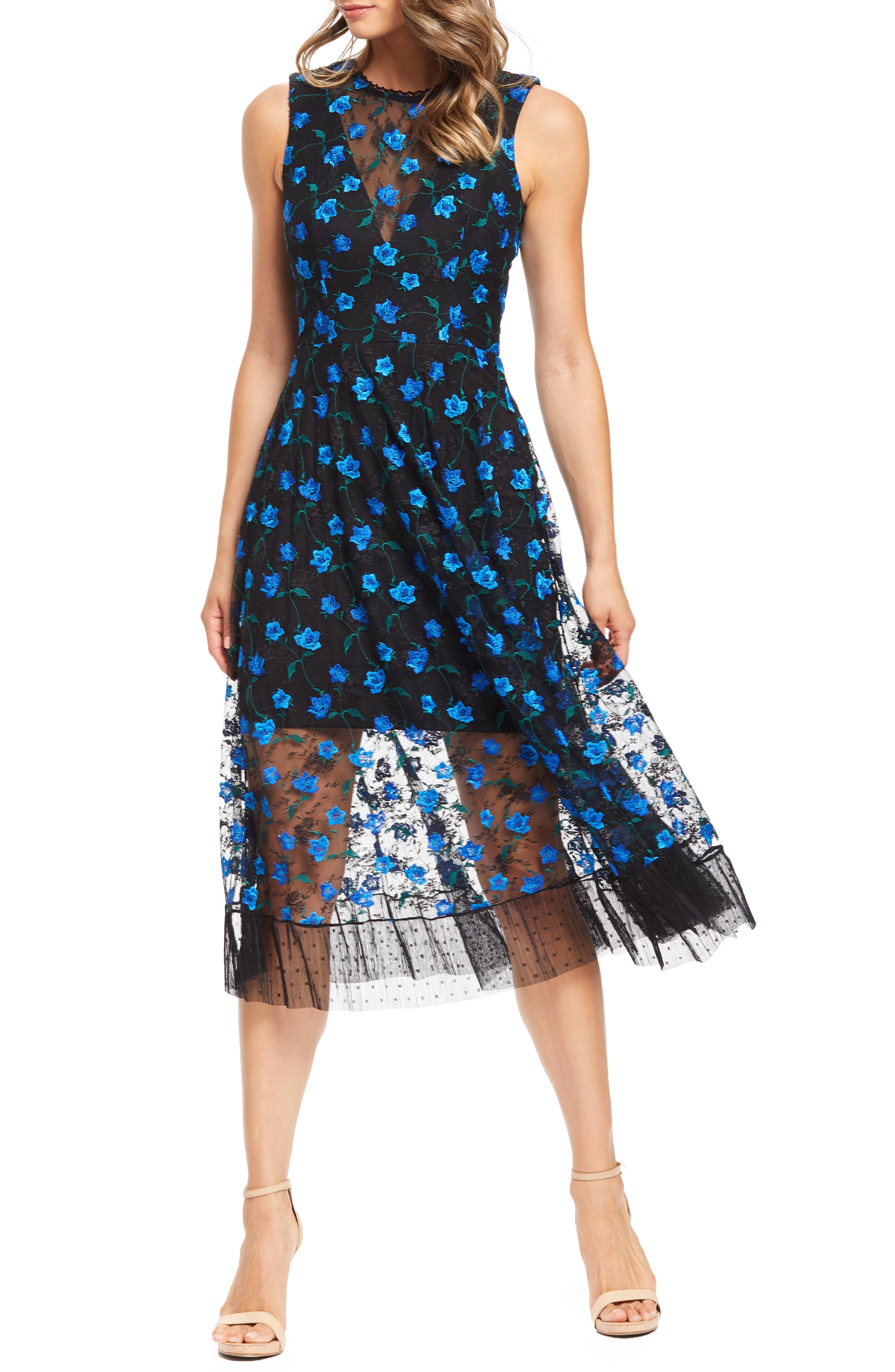 Dress The Population Robyn Embroidered Lace Cocktail Dress, Black