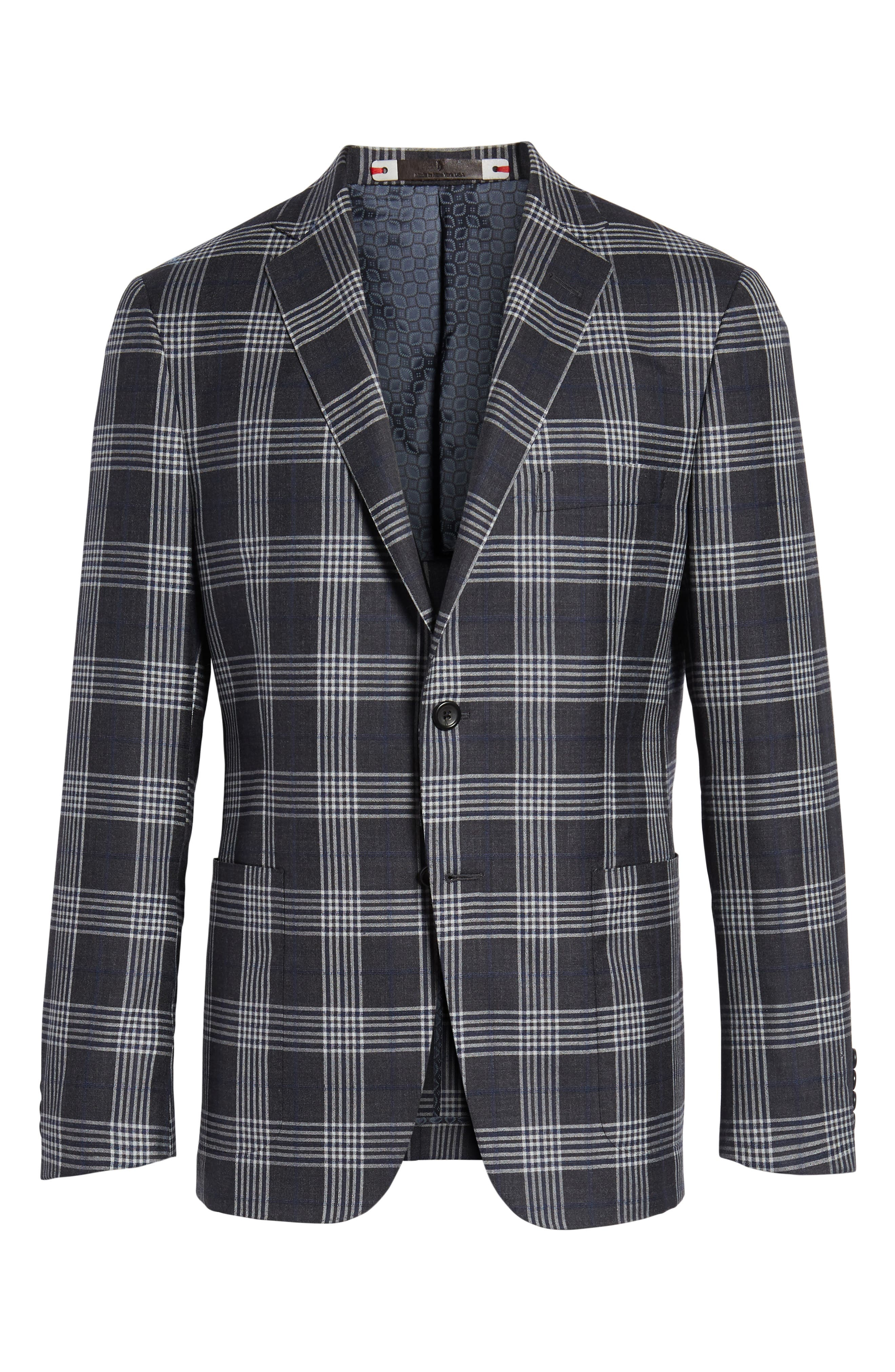 Modern Fit Plaid Wool & Silk Sport Coat,                             Alternate thumbnail 5, color,                             020