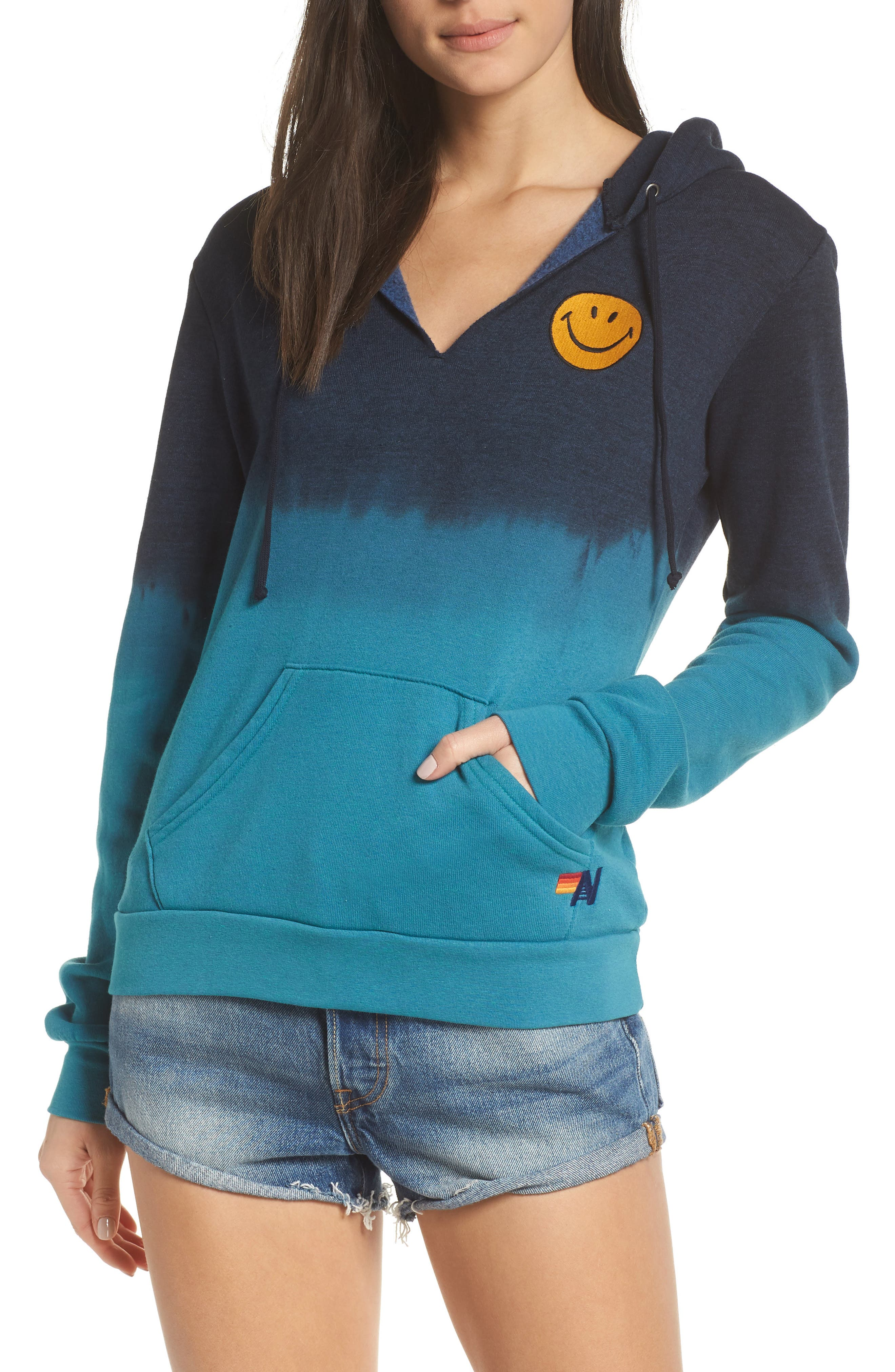 AVIATOR NATION Faded Smile Hoodie in Teal/ Navy