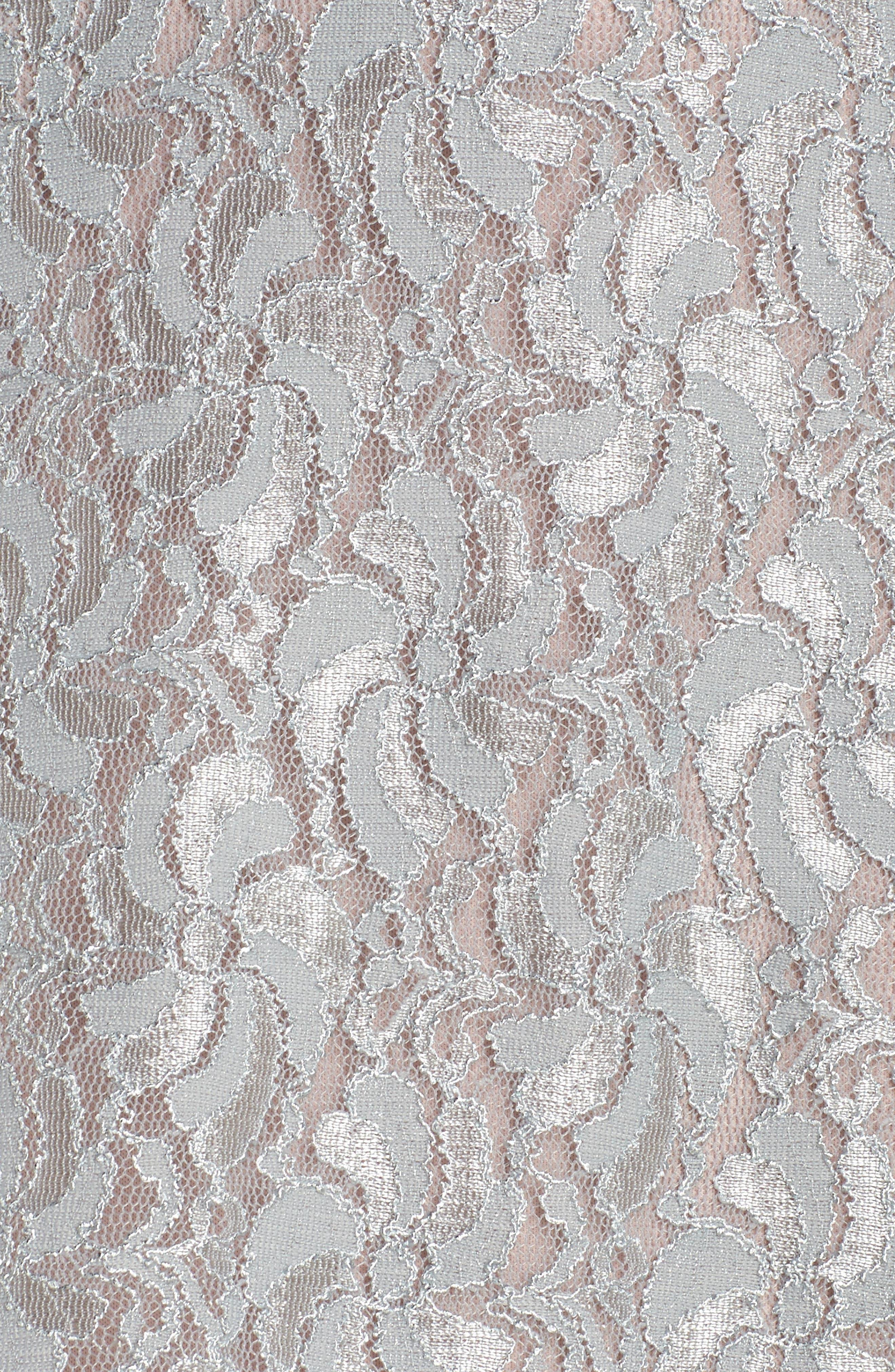 Illusion Waist Lace Fit & Flare Dress,                             Alternate thumbnail 5, color,                             040