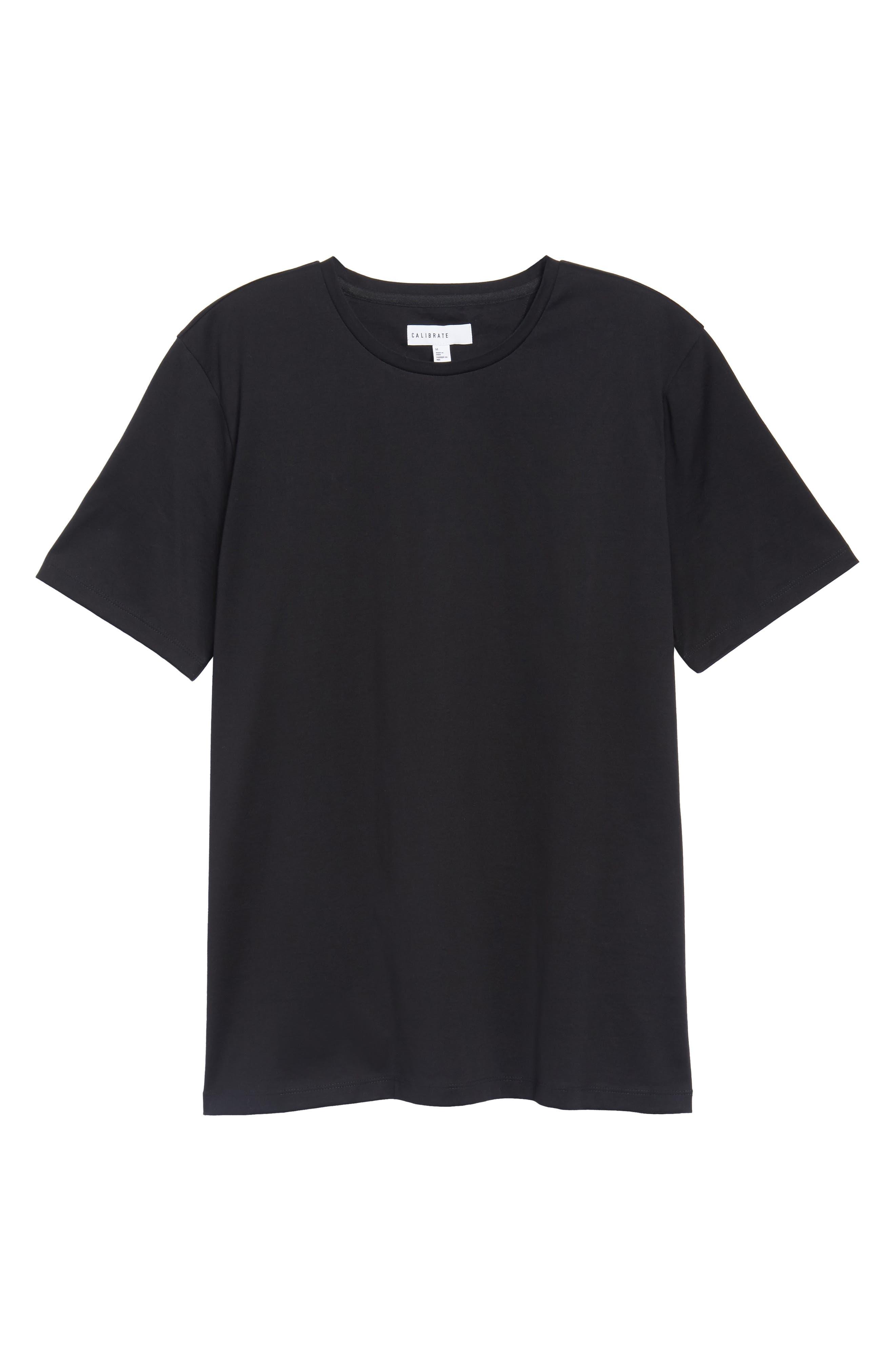 Mercerized Cotton Crewneck T-Shirt,                             Alternate thumbnail 6, color,                             001