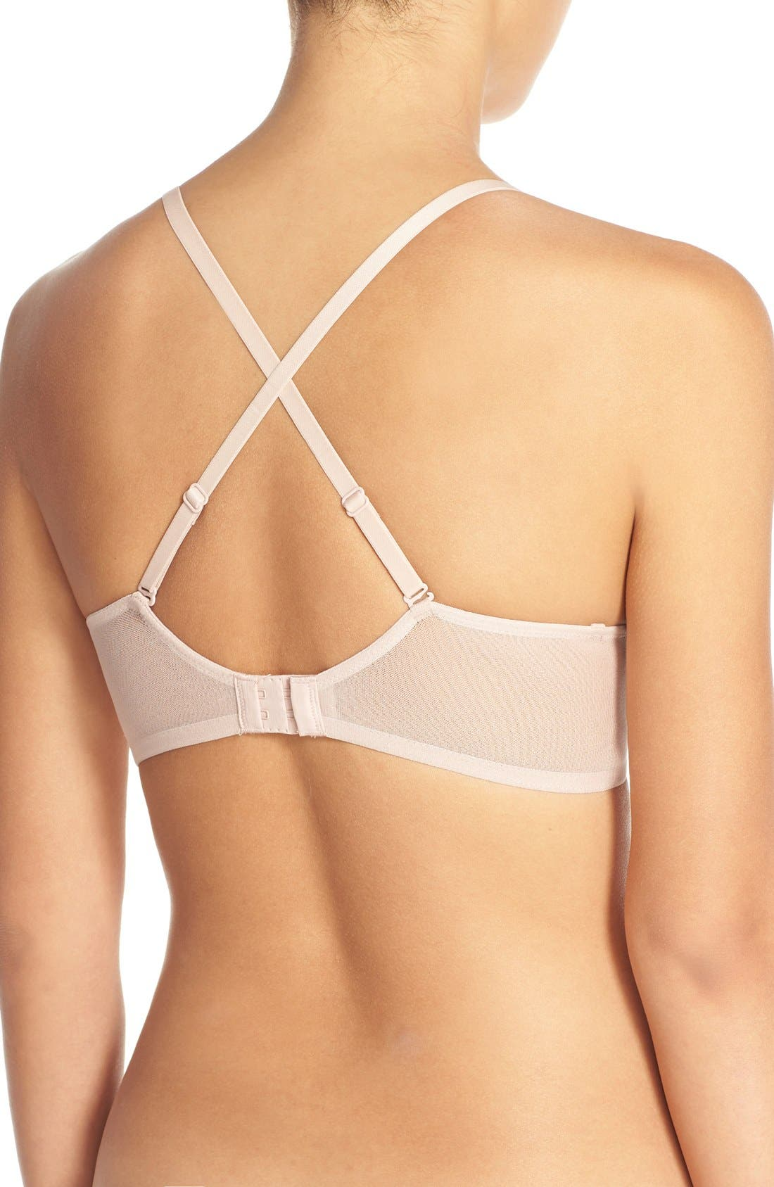 ON GOSSAMER,                             Underwire Convertible T-Shirt Bra,                             Alternate thumbnail 4, color,                             CHAMPAGNE