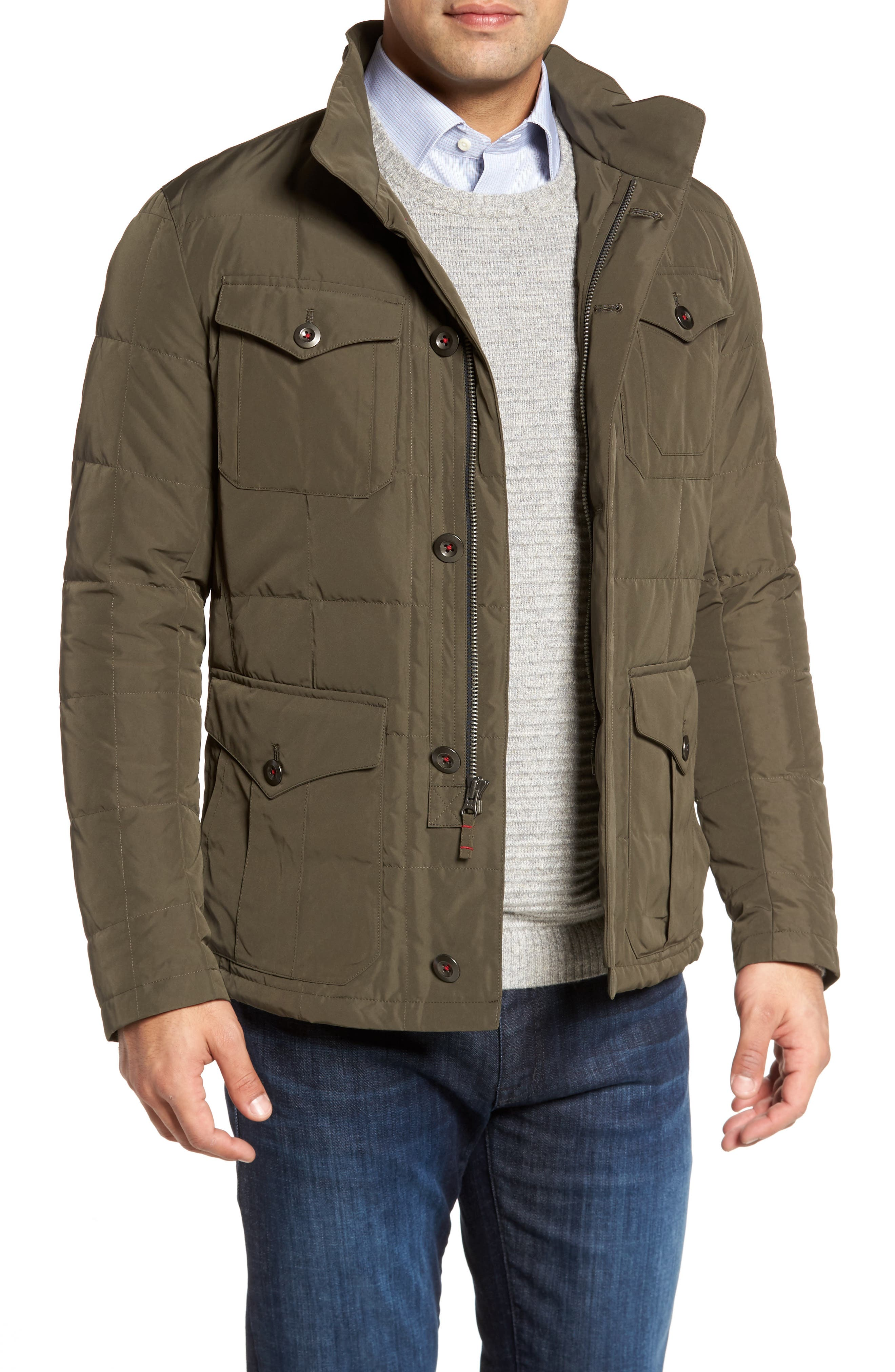 Quilted Down Field Jacket with Stowaway Hood,                         Main,                         color,