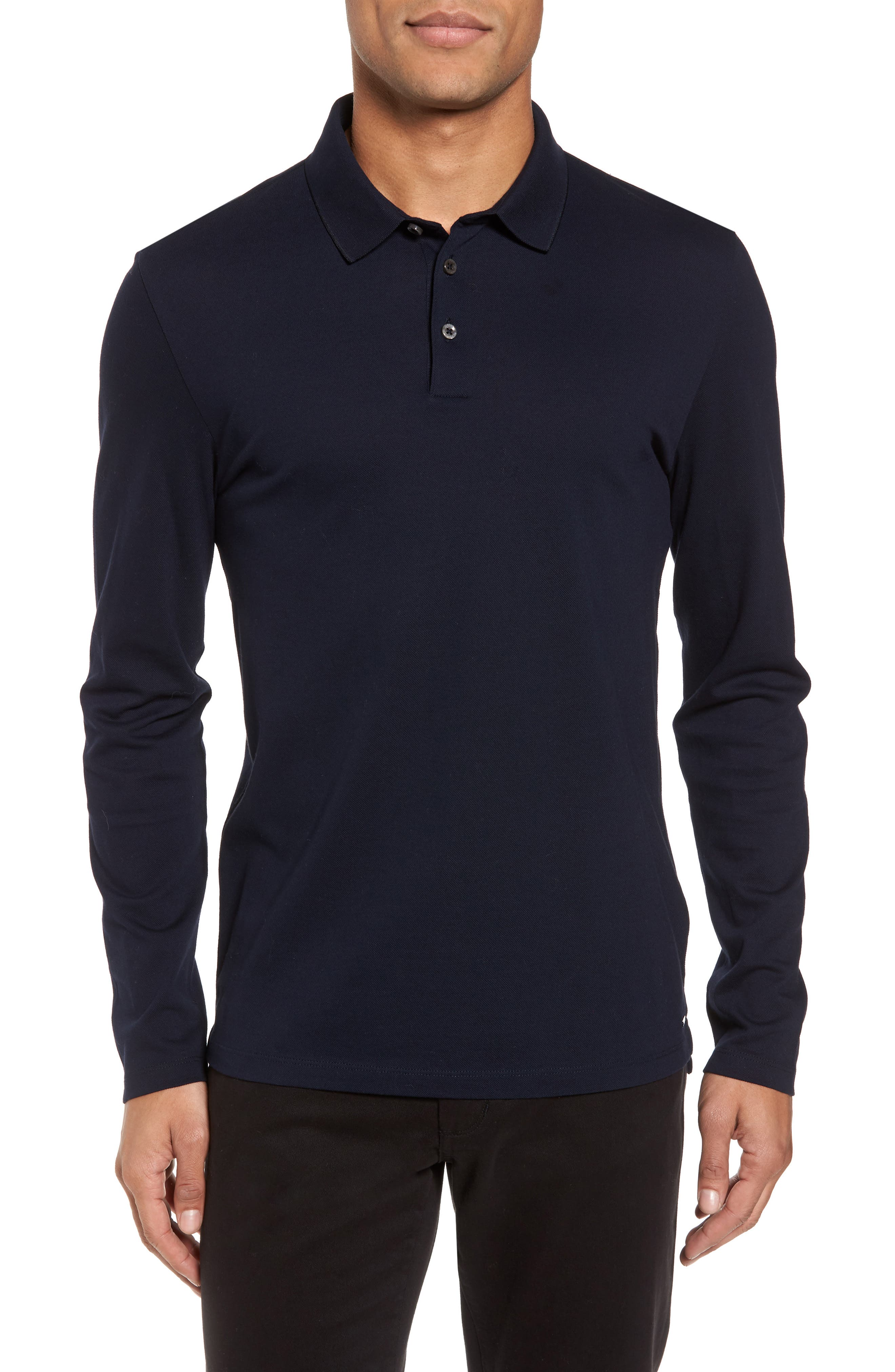 Pleins Slim Fit Long Sleeve Polo,                         Main,                         color, 410