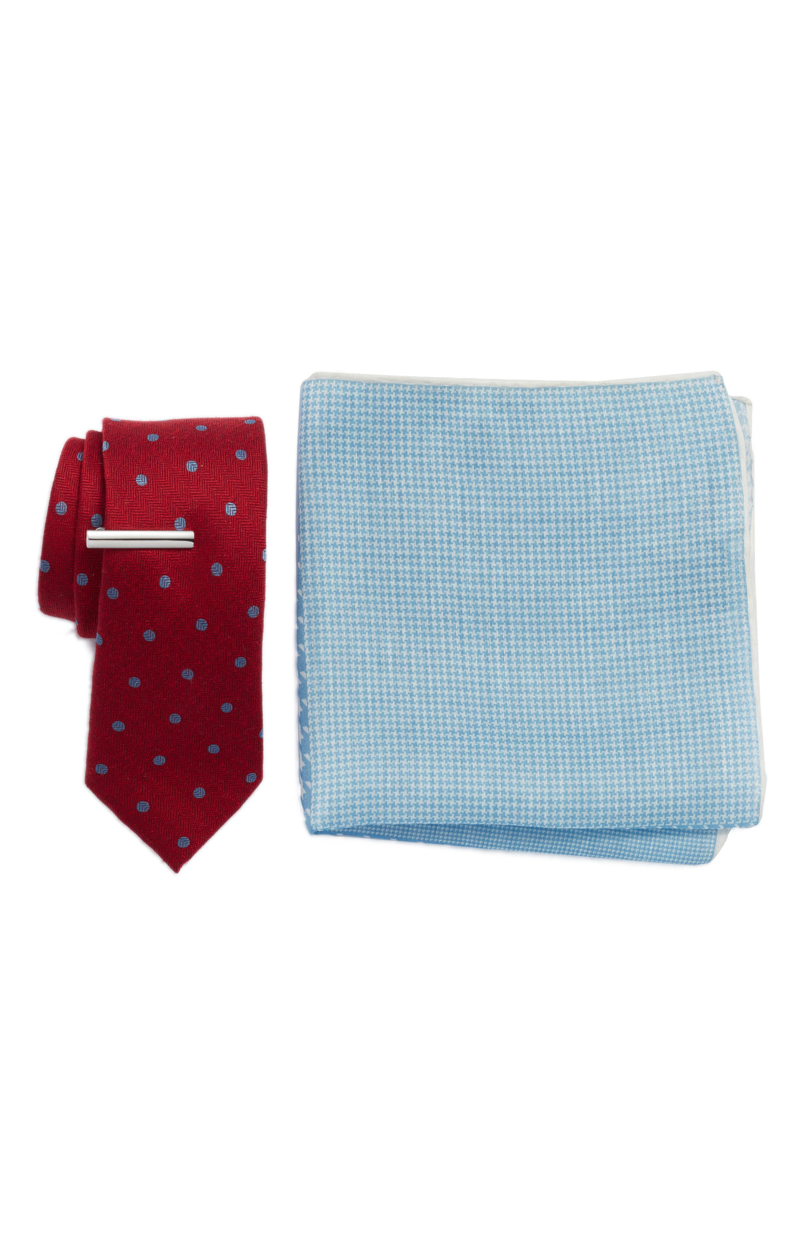 Dotted Hitch 3-Piece Skinny Tie Style Box,                             Main thumbnail 1, color,                             BURGUNDY