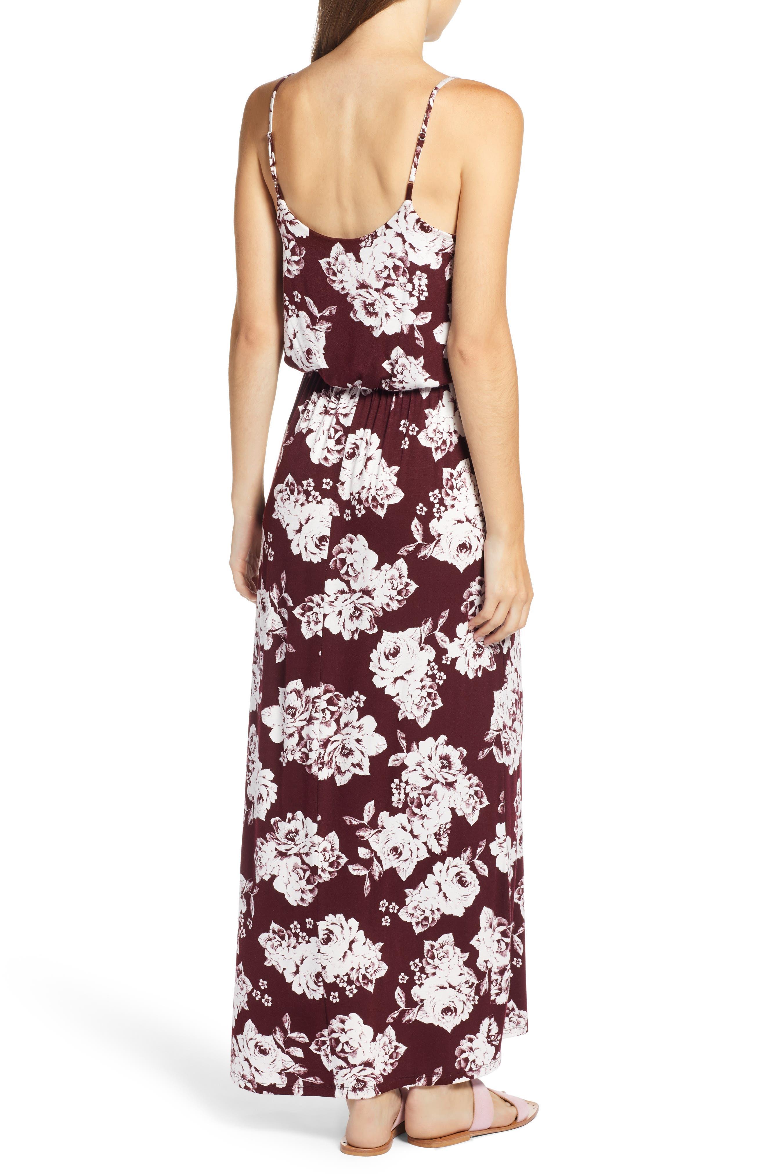 Knit Maxi Dress,                             Alternate thumbnail 2, color,                             BURGUNDY FLORAL