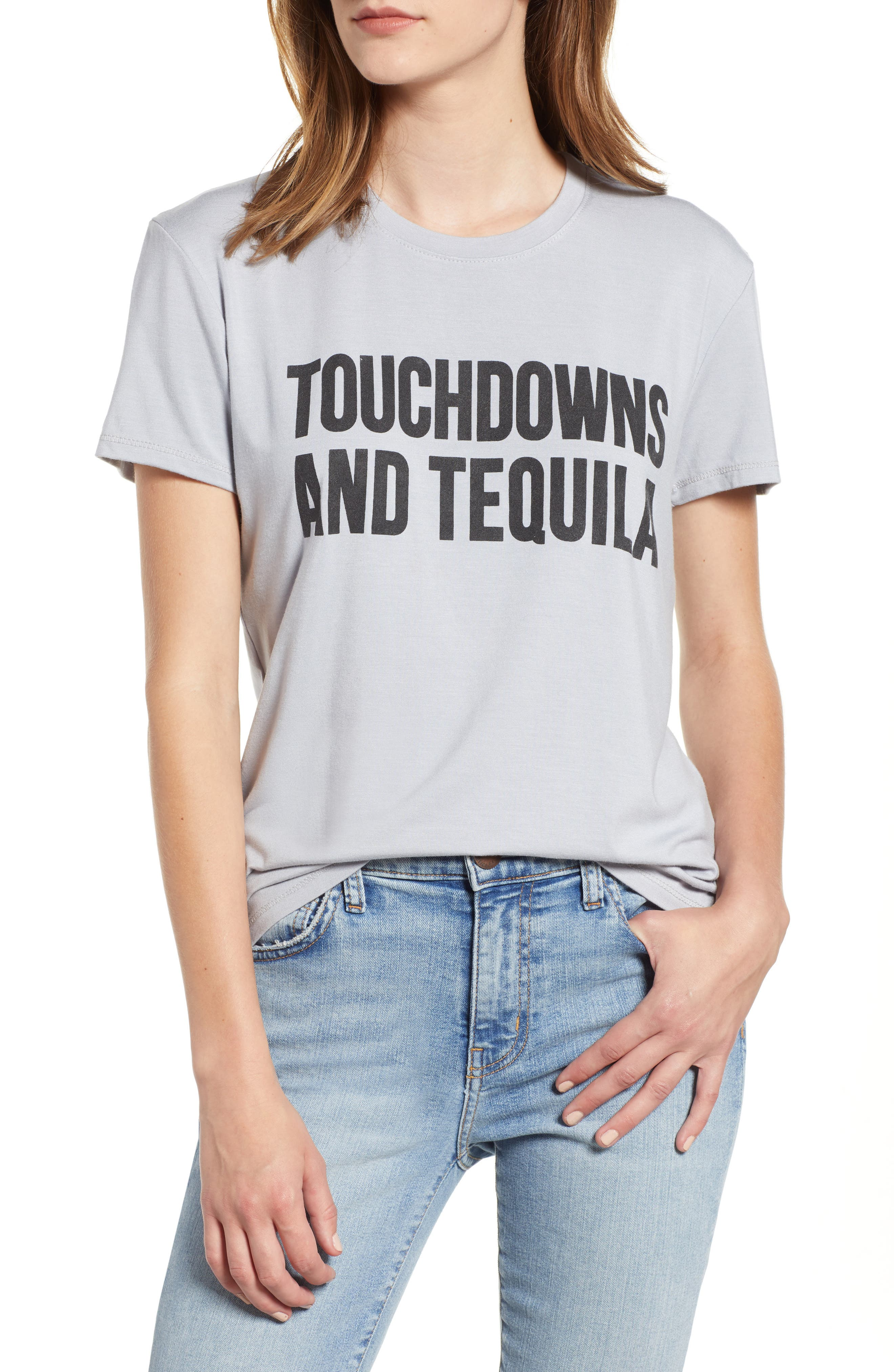 Touchdowns & Tequila Tee,                             Main thumbnail 1, color,                             GREY