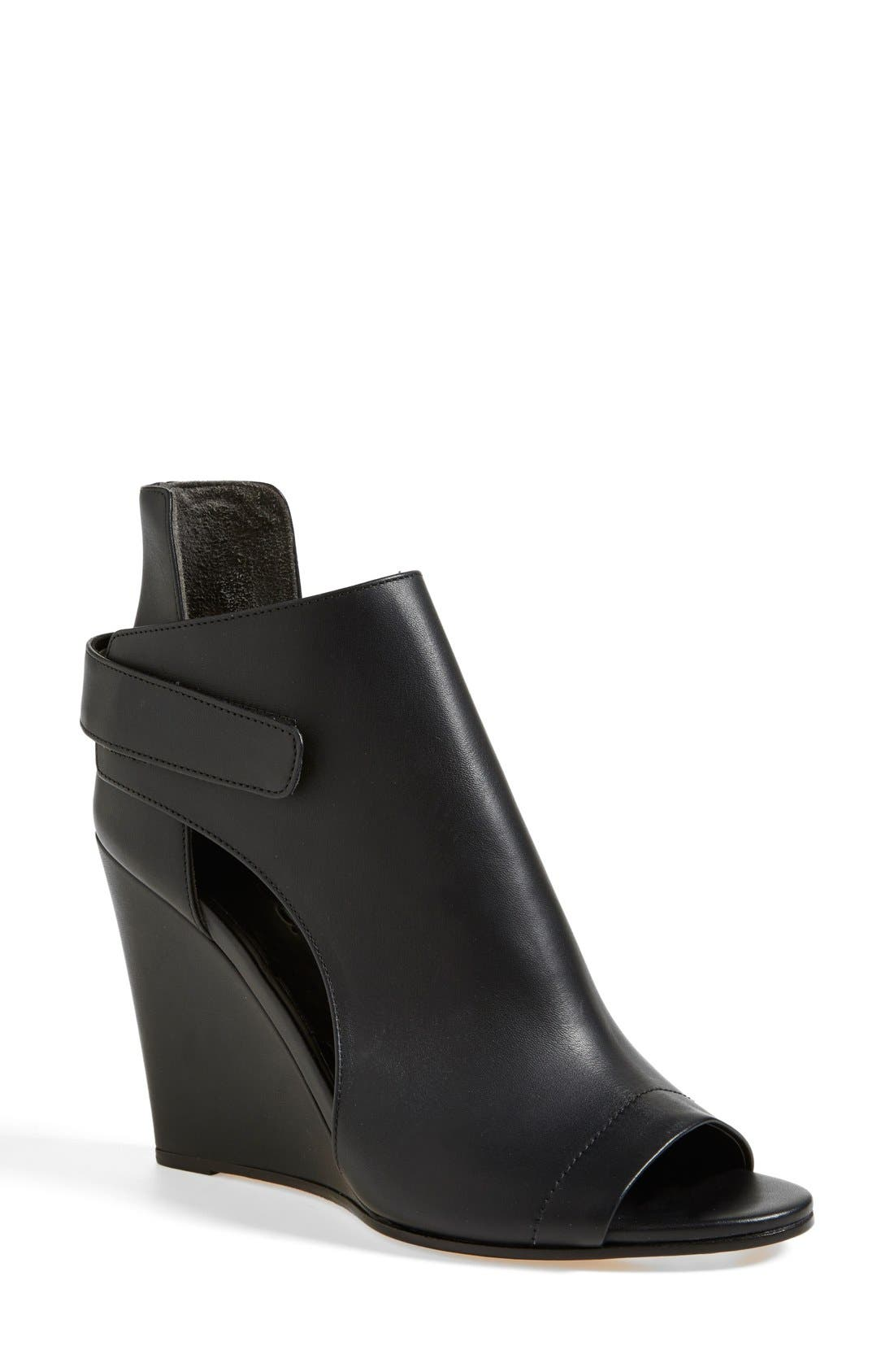 'Katia' Leather Wedge Bootie,                             Main thumbnail 1, color,                             001