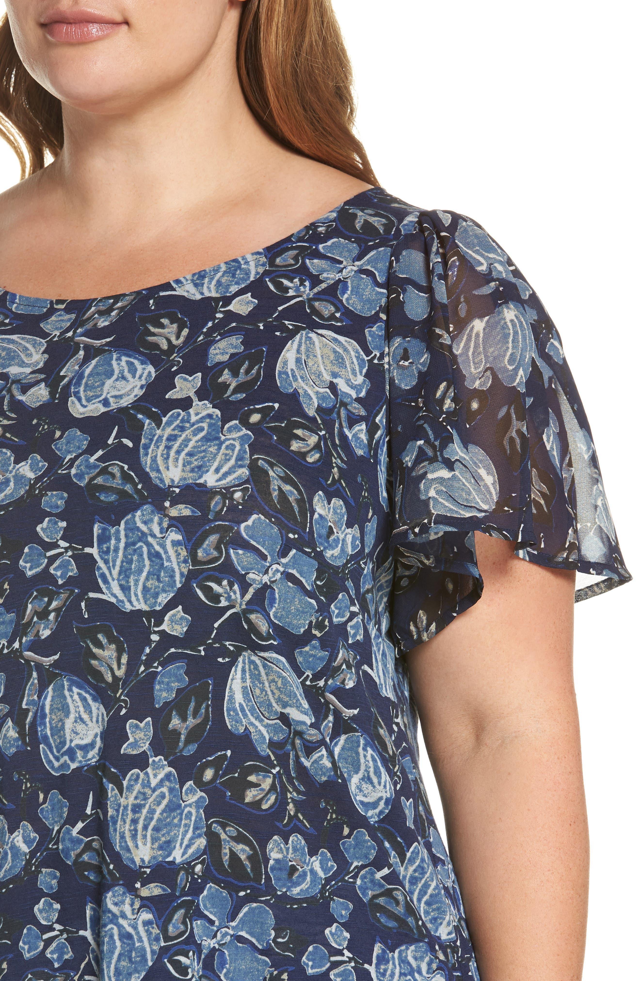 Floral Back Cutout Top,                             Alternate thumbnail 4, color,                             400