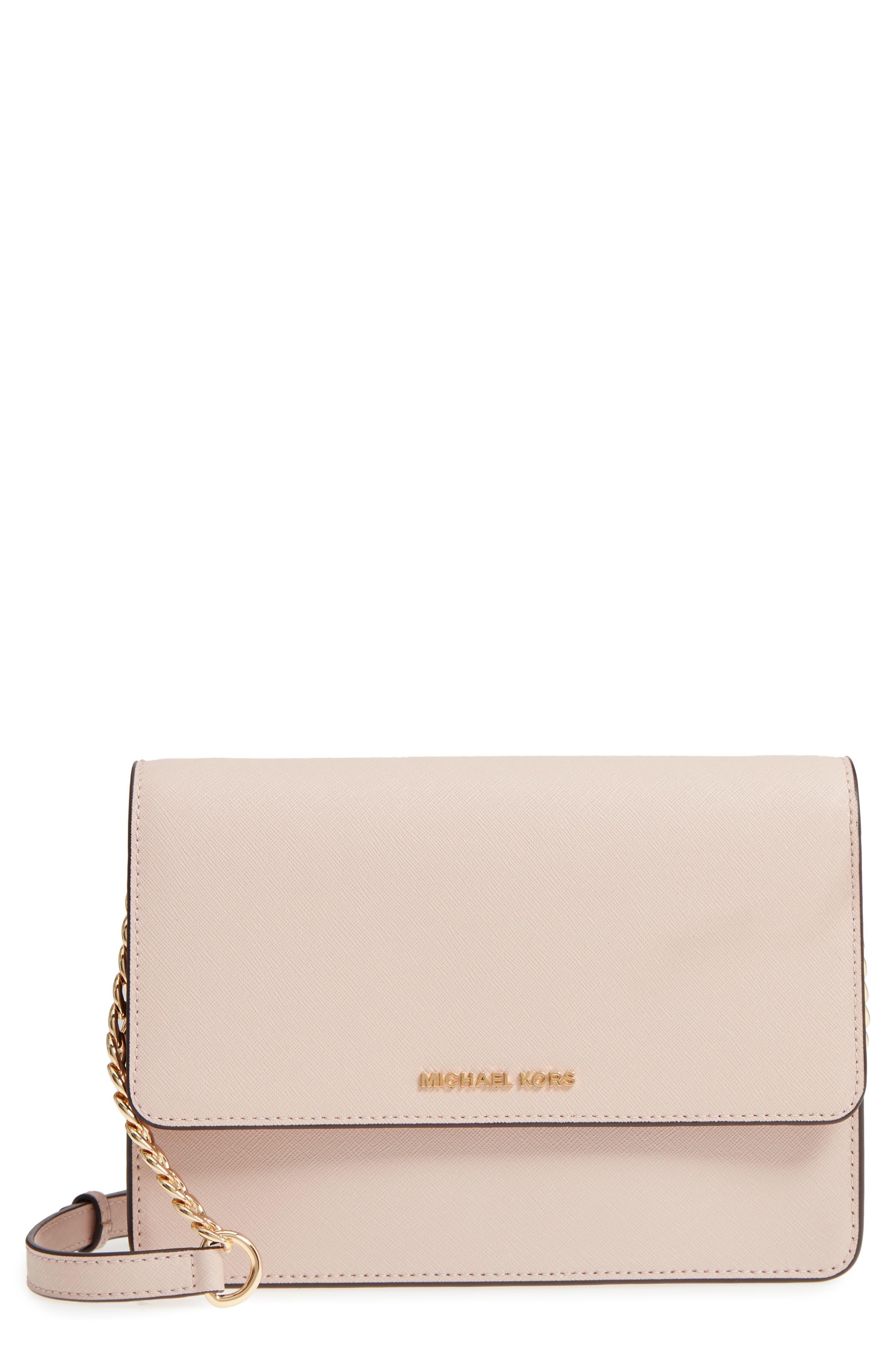 Large Daniela Leather Crossbody Bag,                             Main thumbnail 1, color,                             SOFT PINK