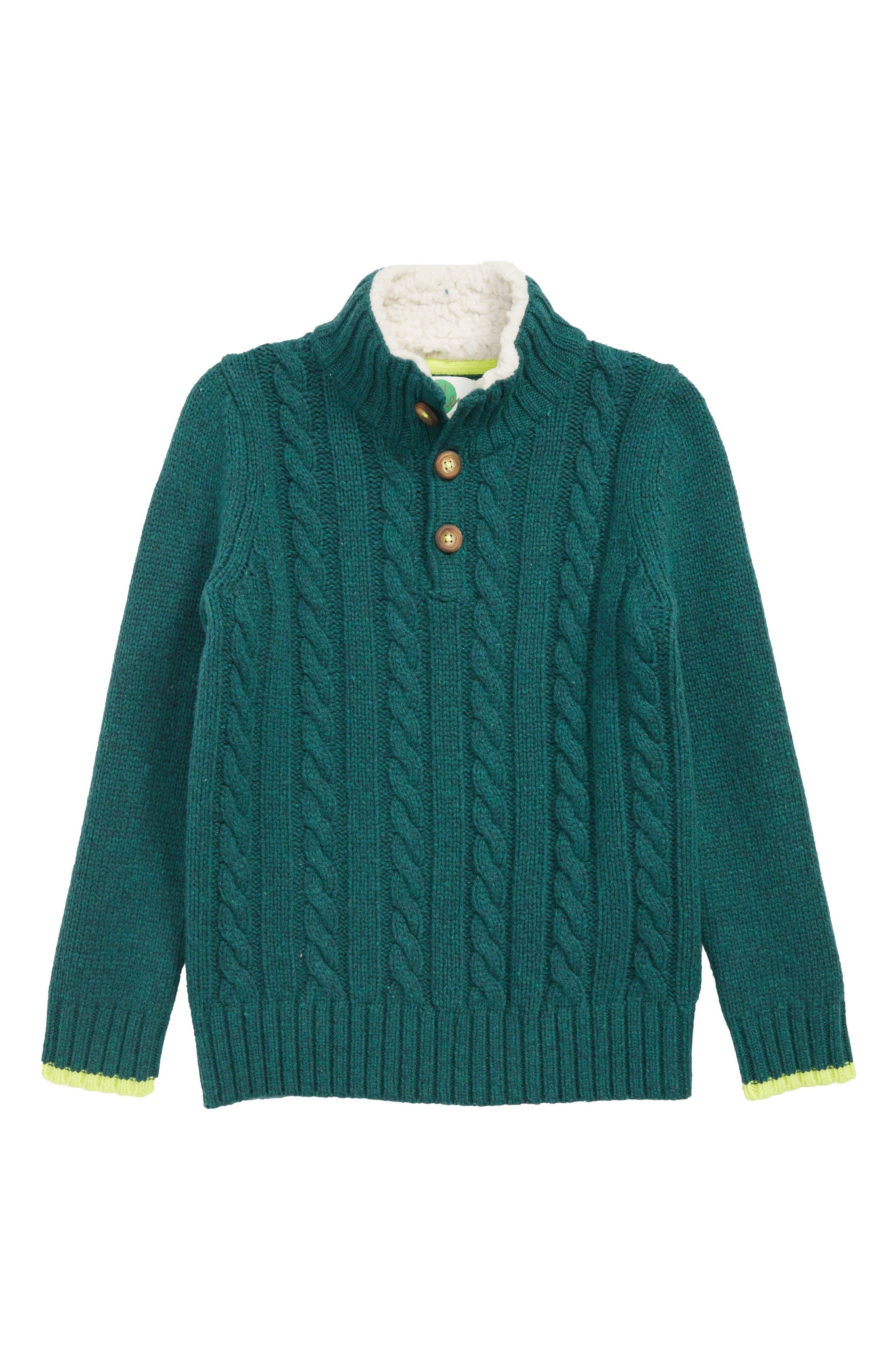 MINI BODEN,                             Chunky Knit Sweater,                             Main thumbnail 1, color,                             STORM GREEN