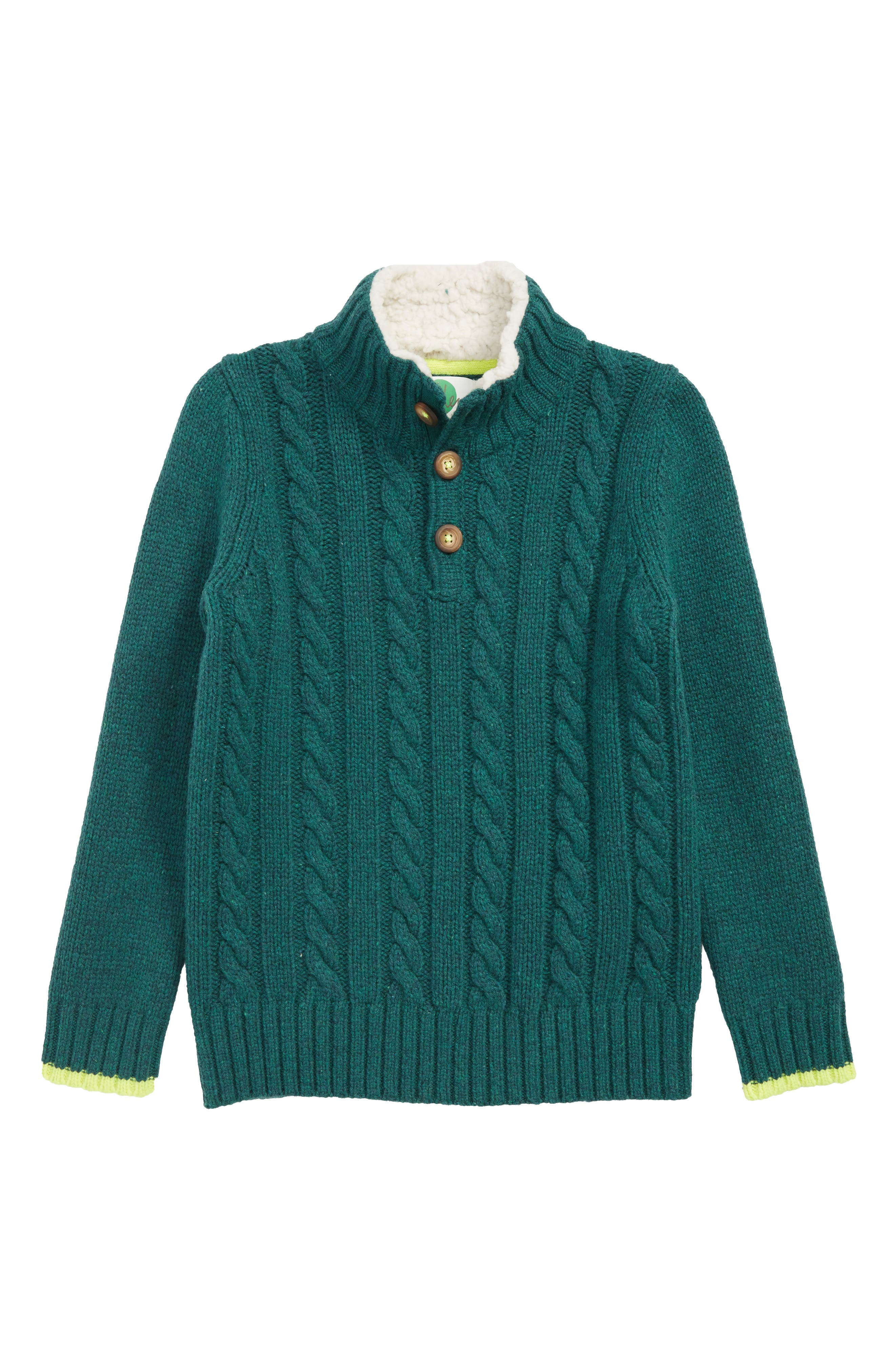 MINI BODEN Chunky Knit Sweater, Main, color, STORM GREEN