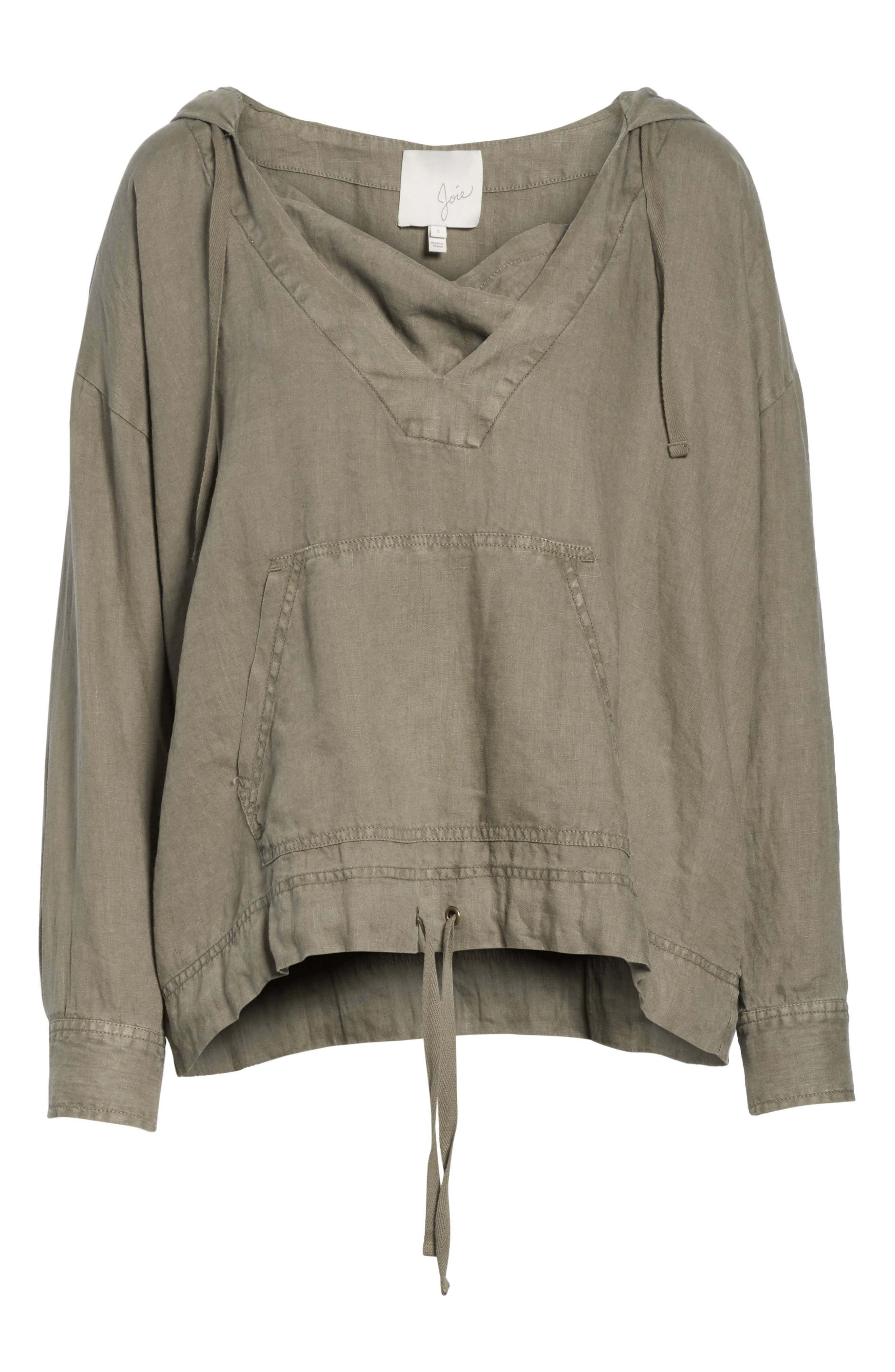 Dalal Linen Hoodie Top,                             Alternate thumbnail 6, color,