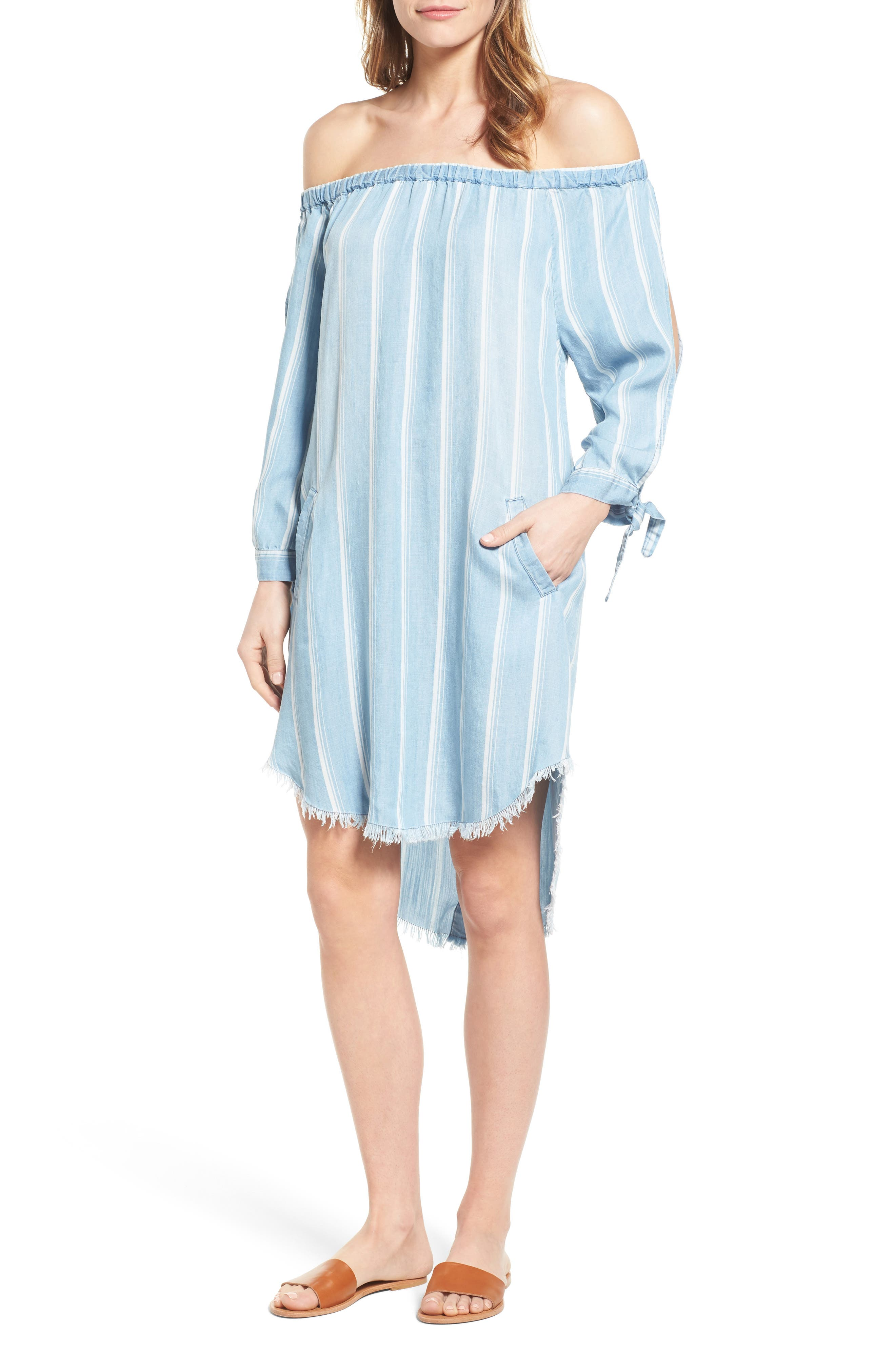 Off the Shoulder Stripe Chambray Dress,                             Main thumbnail 1, color,                             400
