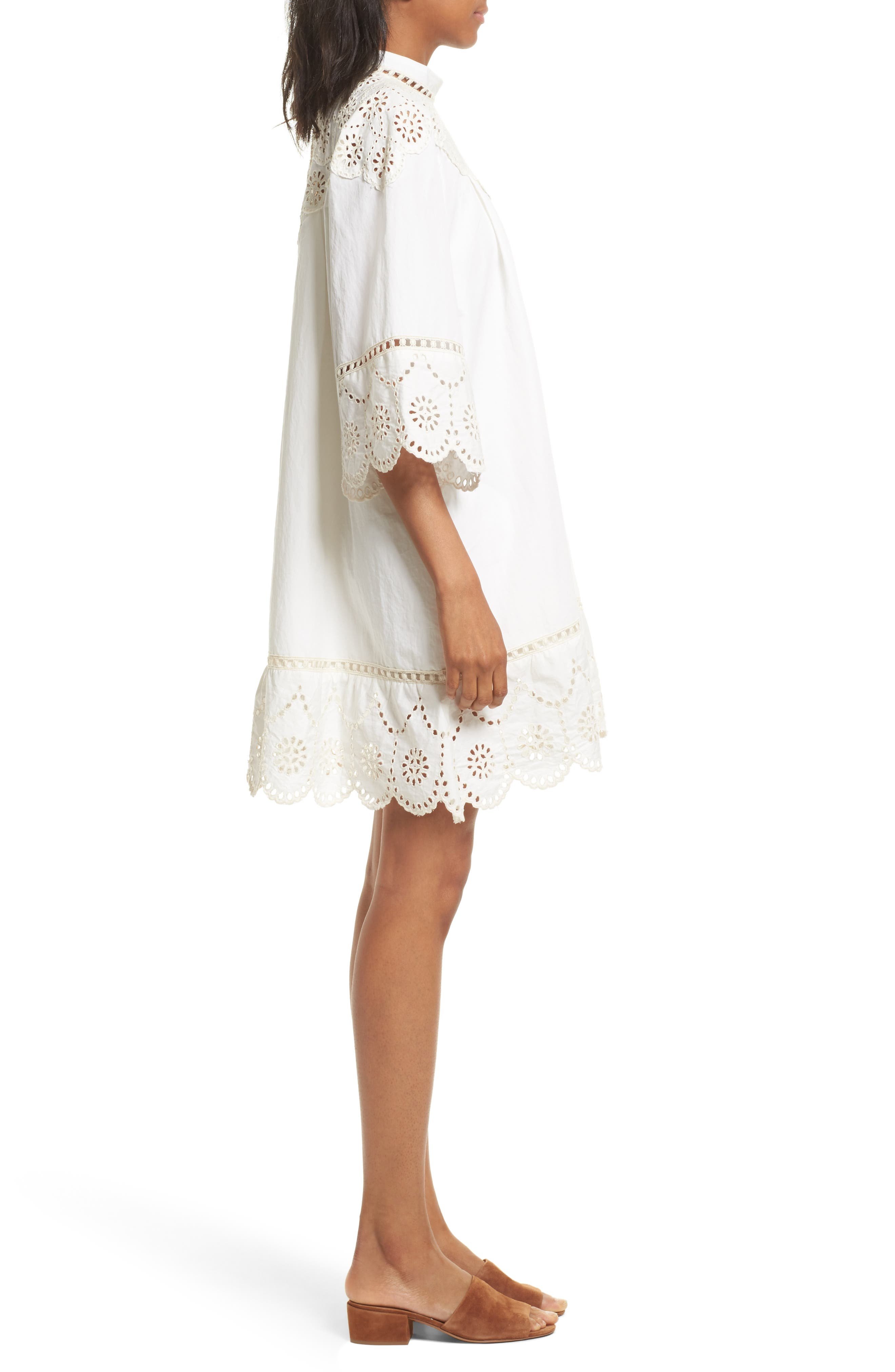 Eyelet A-Line Dress,                             Alternate thumbnail 3, color,                             900