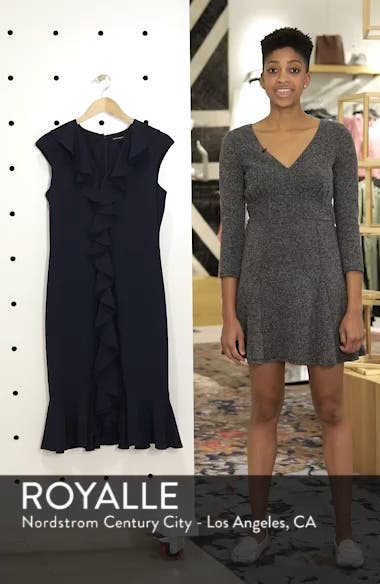 Sleeveless Crepe Ruffle Dress, sales video thumbnail
