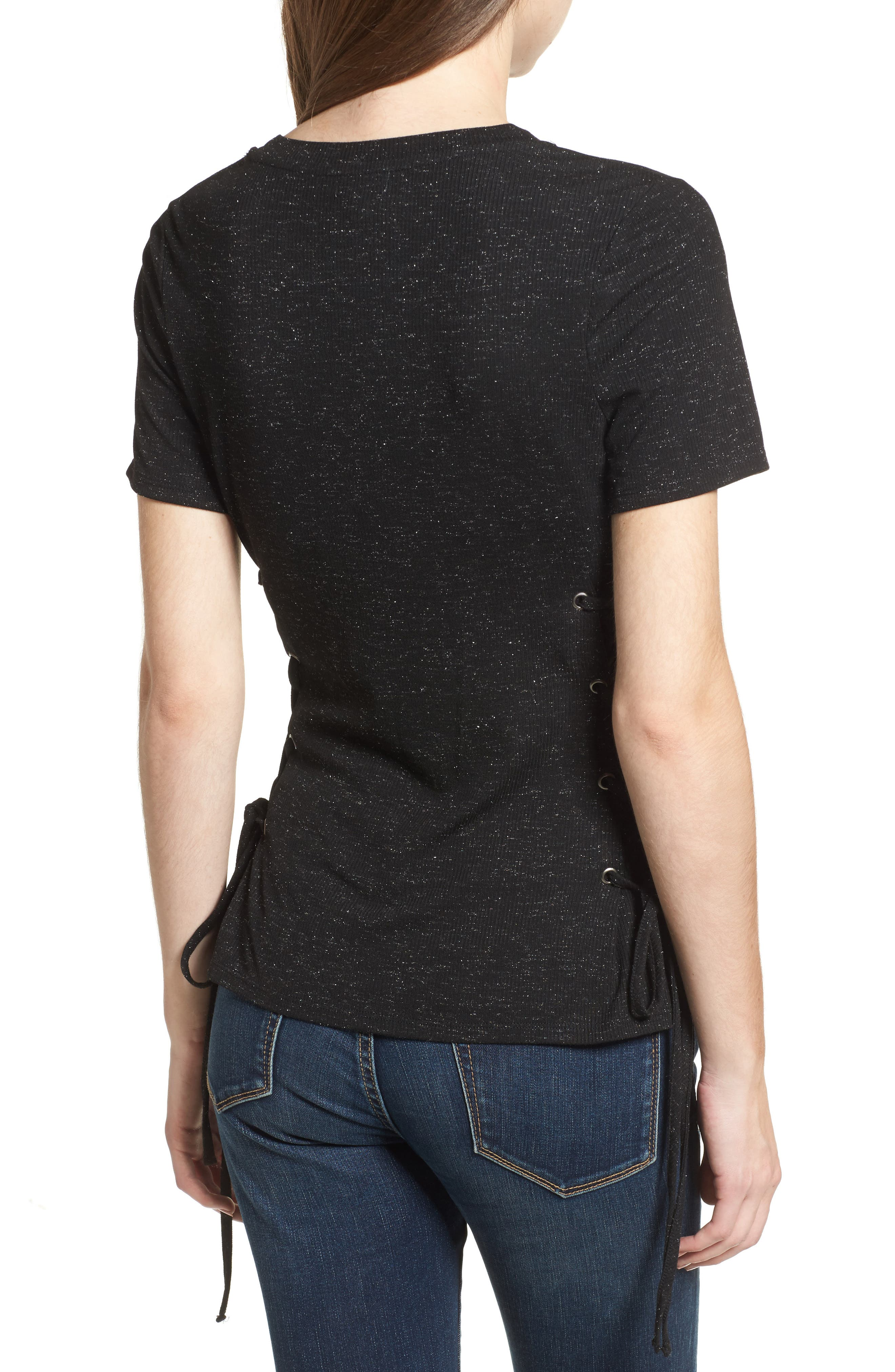 Lace-Up Tee,                             Alternate thumbnail 2, color,                             001