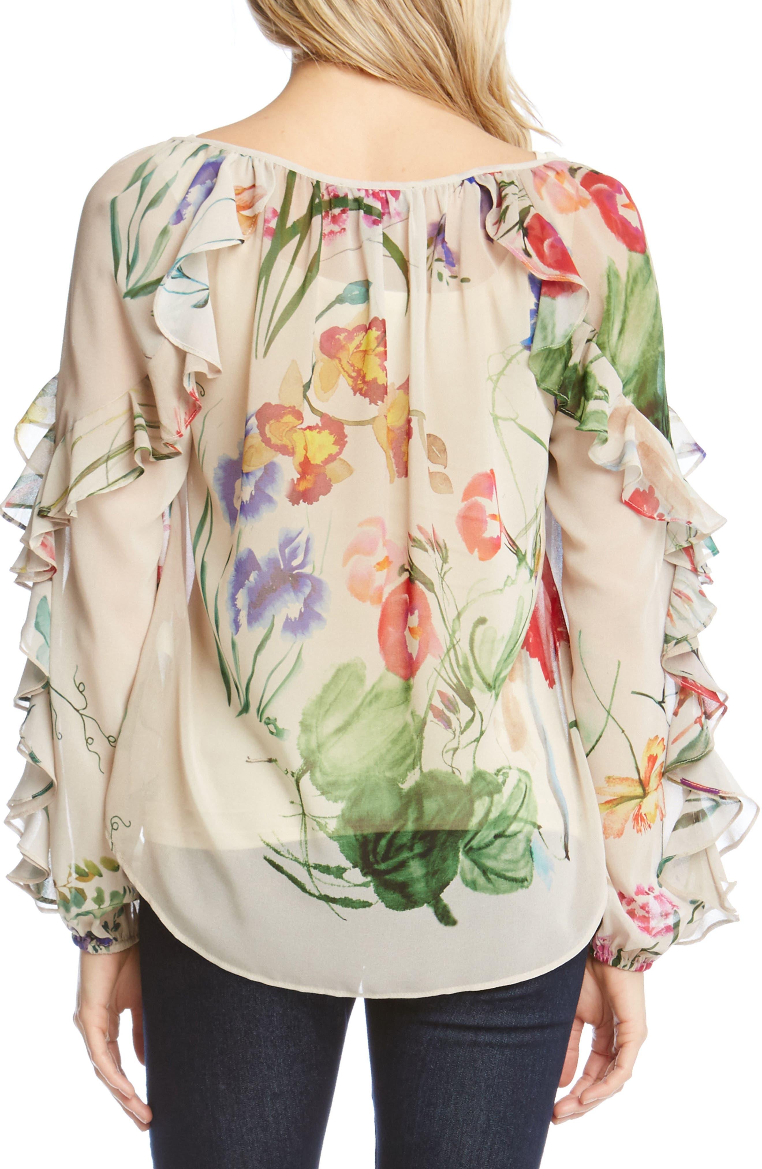 Keyhole Ruffle Sleeve Floral Georgette Blouse,                             Alternate thumbnail 2, color,