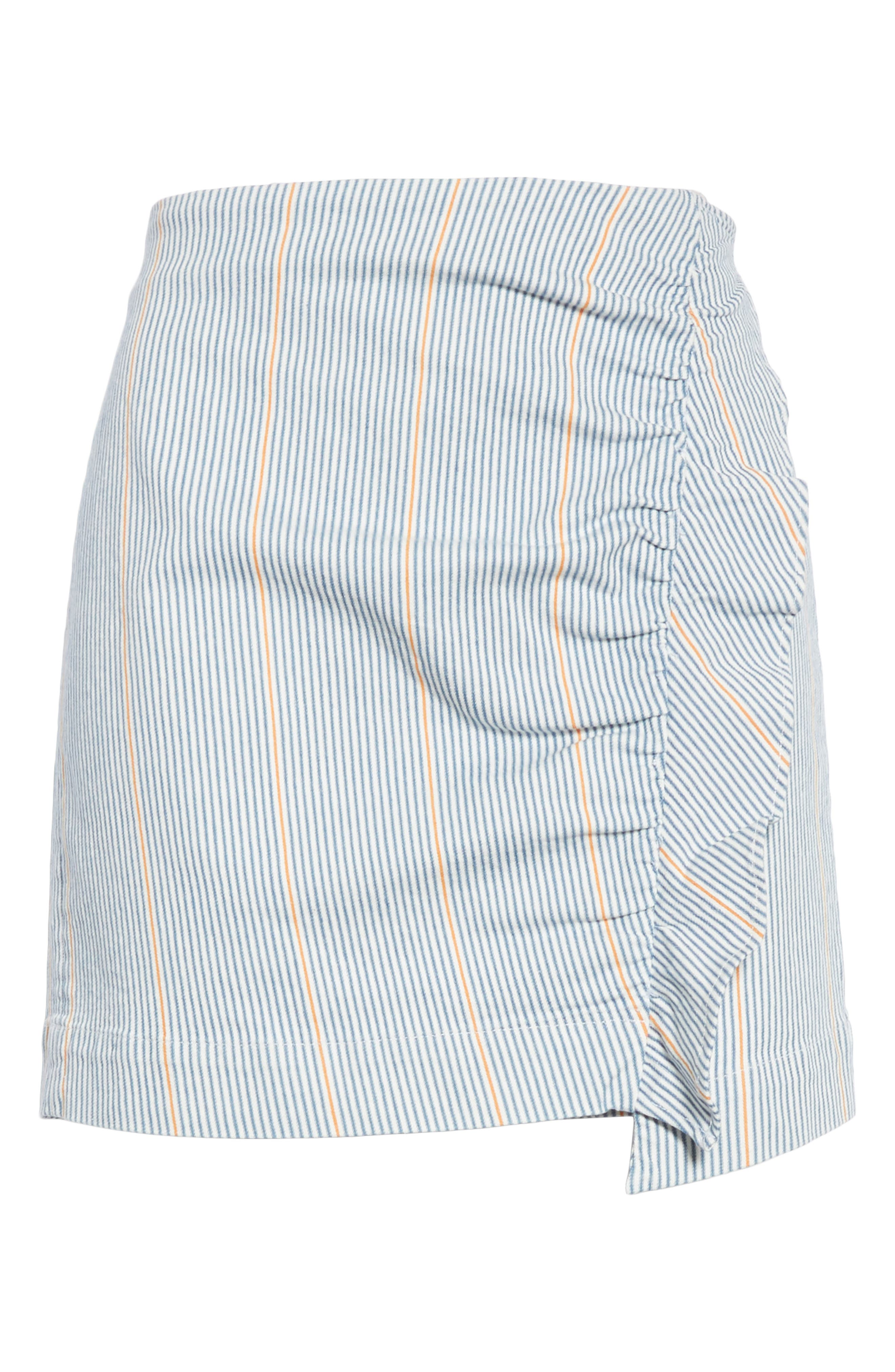 Jane Stripe Ruffle Detail Skirt,                             Alternate thumbnail 6, color,                             NILLIE SKIRT