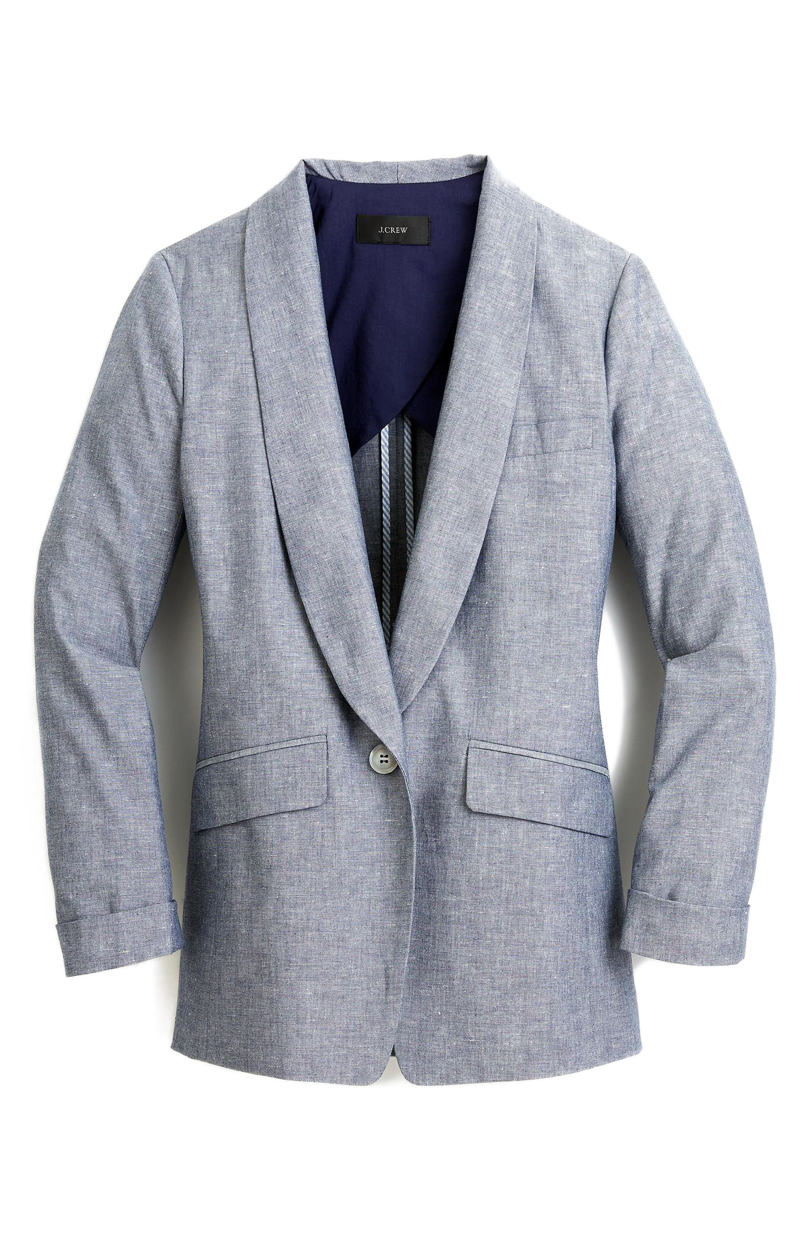 Unstructured Shawl Collar Cotton Linen Blazer,                             Alternate thumbnail 6, color,