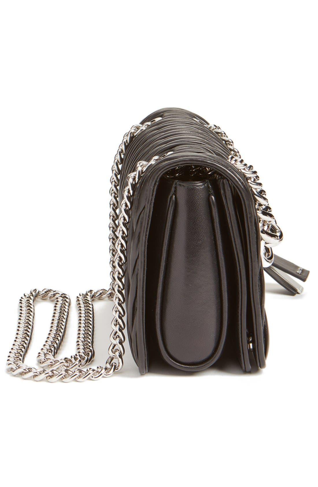 'Club' Matelassé Leather Shoulder Bag,                             Alternate thumbnail 5, color,                             001