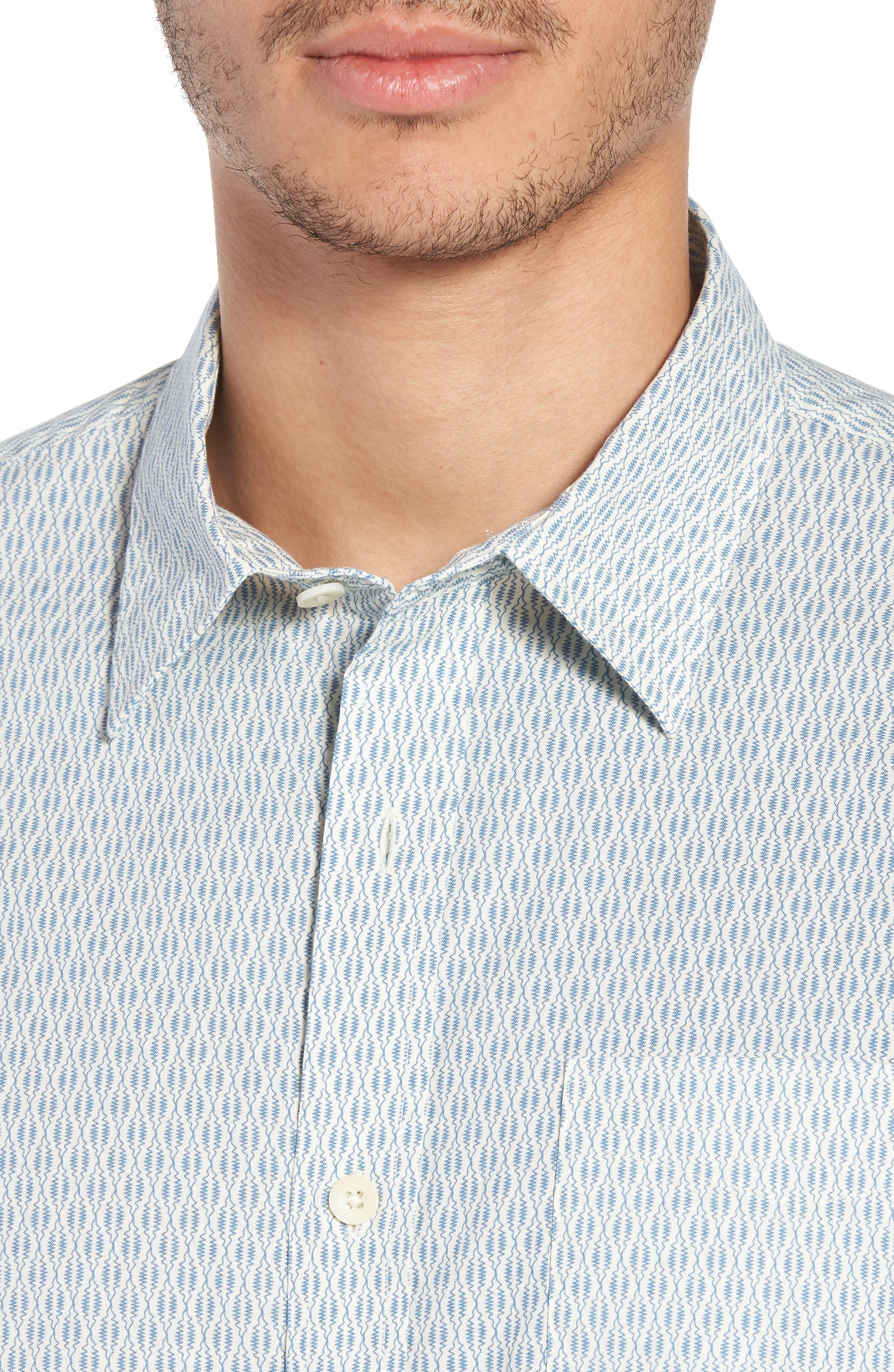 Regular Fit Print Short Sleeve Sport Shirt,                             Alternate thumbnail 4, color,                             VINTAGE NAVY SQUIGGLE