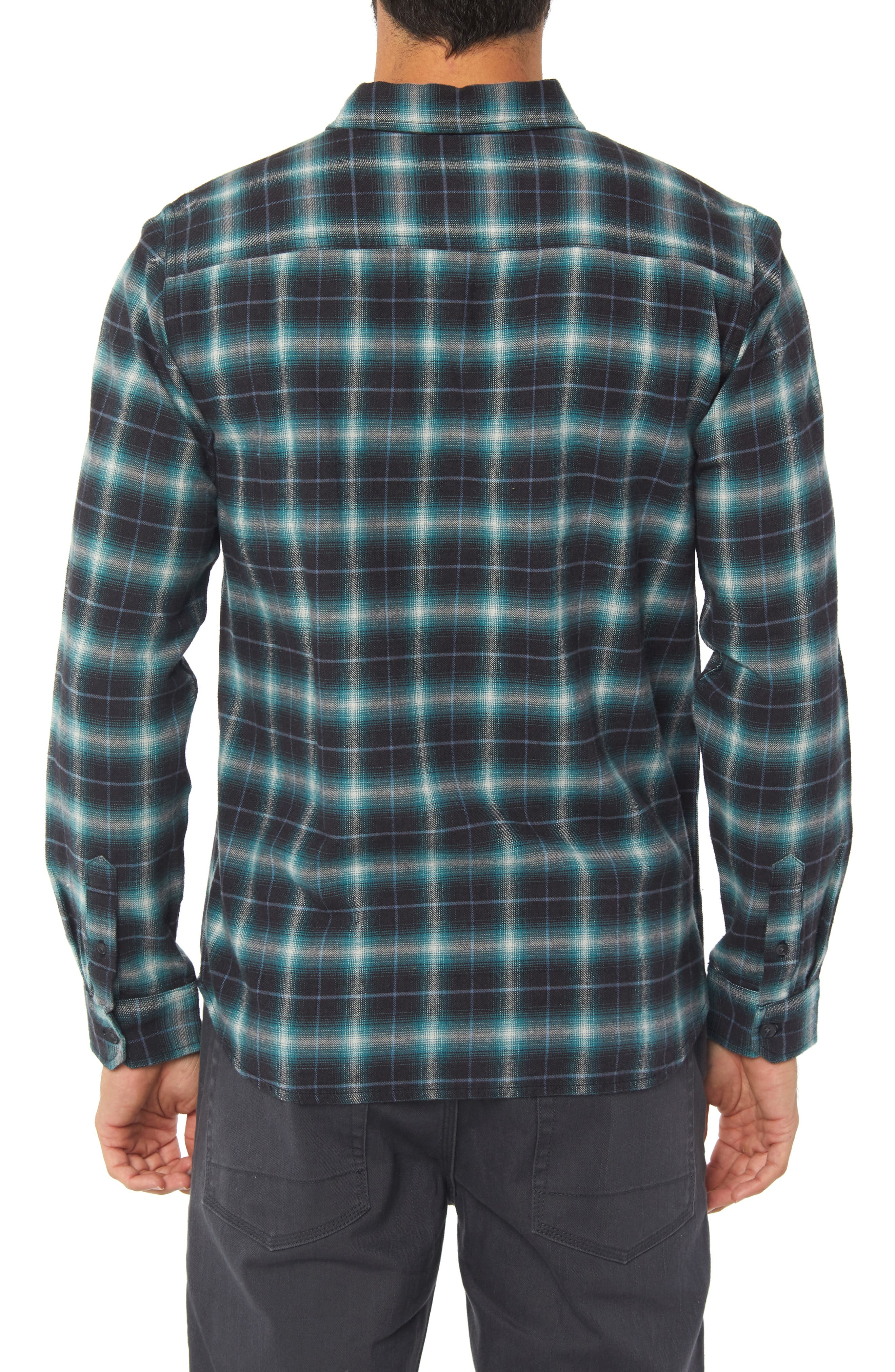 Graham Shadow Check Flannel Shirt,                             Alternate thumbnail 2, color,                             AQUA
