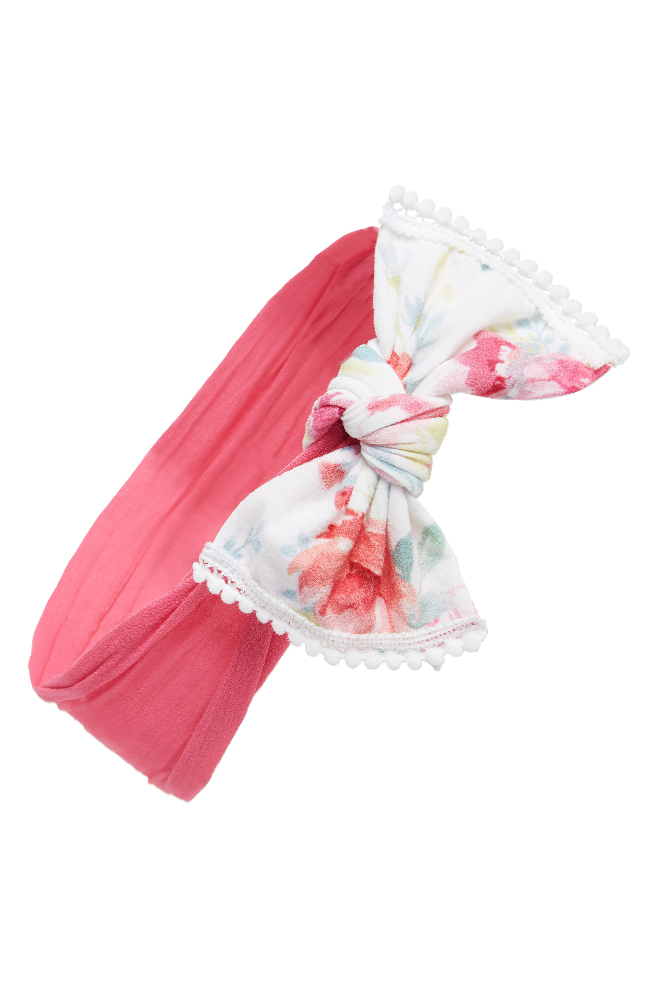 BABY BLING Combo Print Knotted Bow Headband, Main, color, CORAL ROSE