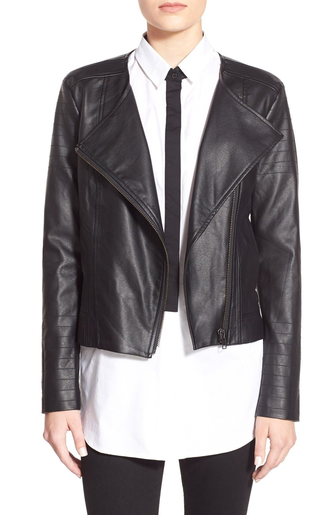 'Helena' Faux Leather Jacket,                         Main,                         color, 001