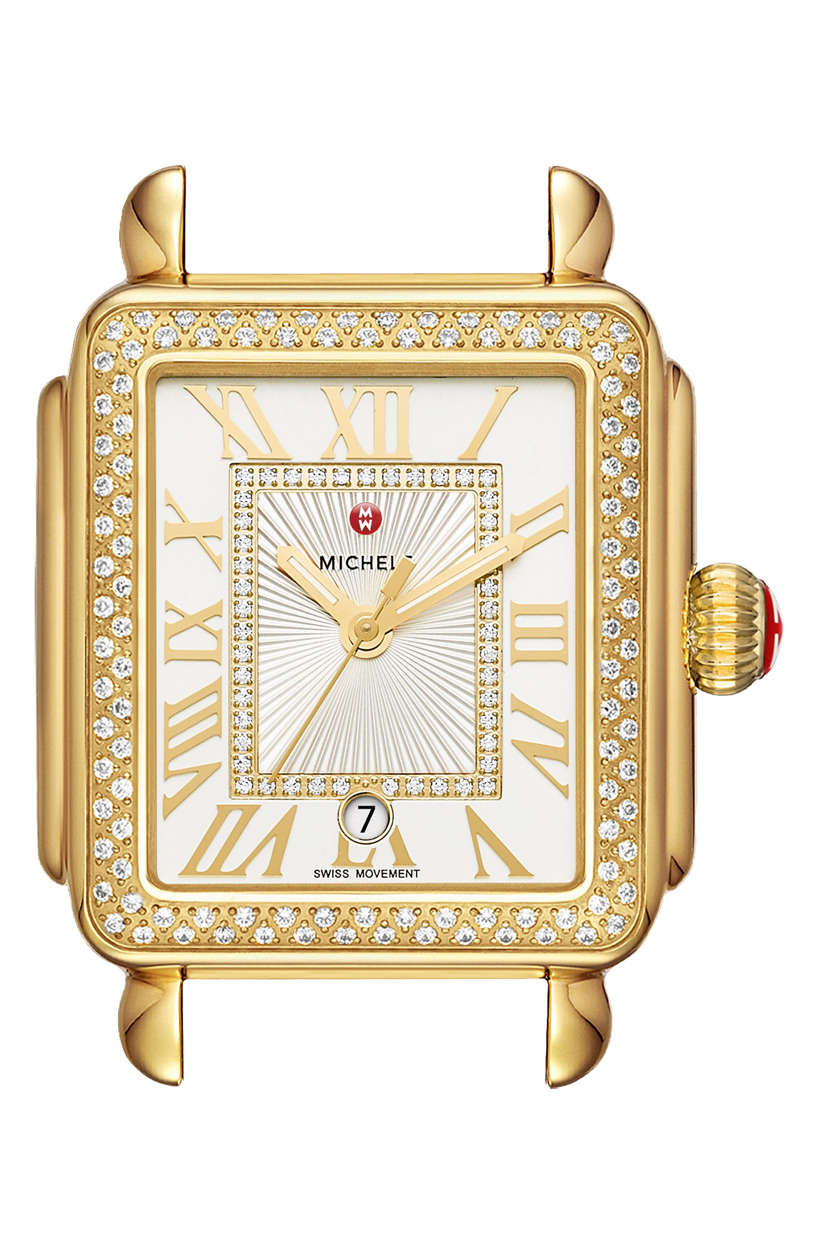 Deco Madison Diamond Dial Watch Case, 33mm x 35mm,                             Main thumbnail 1, color,                             GOLD/ WHITE/ GOLD